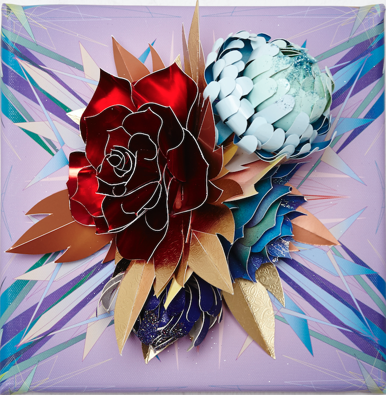 "Lacy Barry, ""Pigeon and Dove Floral, plate #6"" 2014. Paper oral bouquet mounted on giclee printed vector mural square. 10 x 10 in."