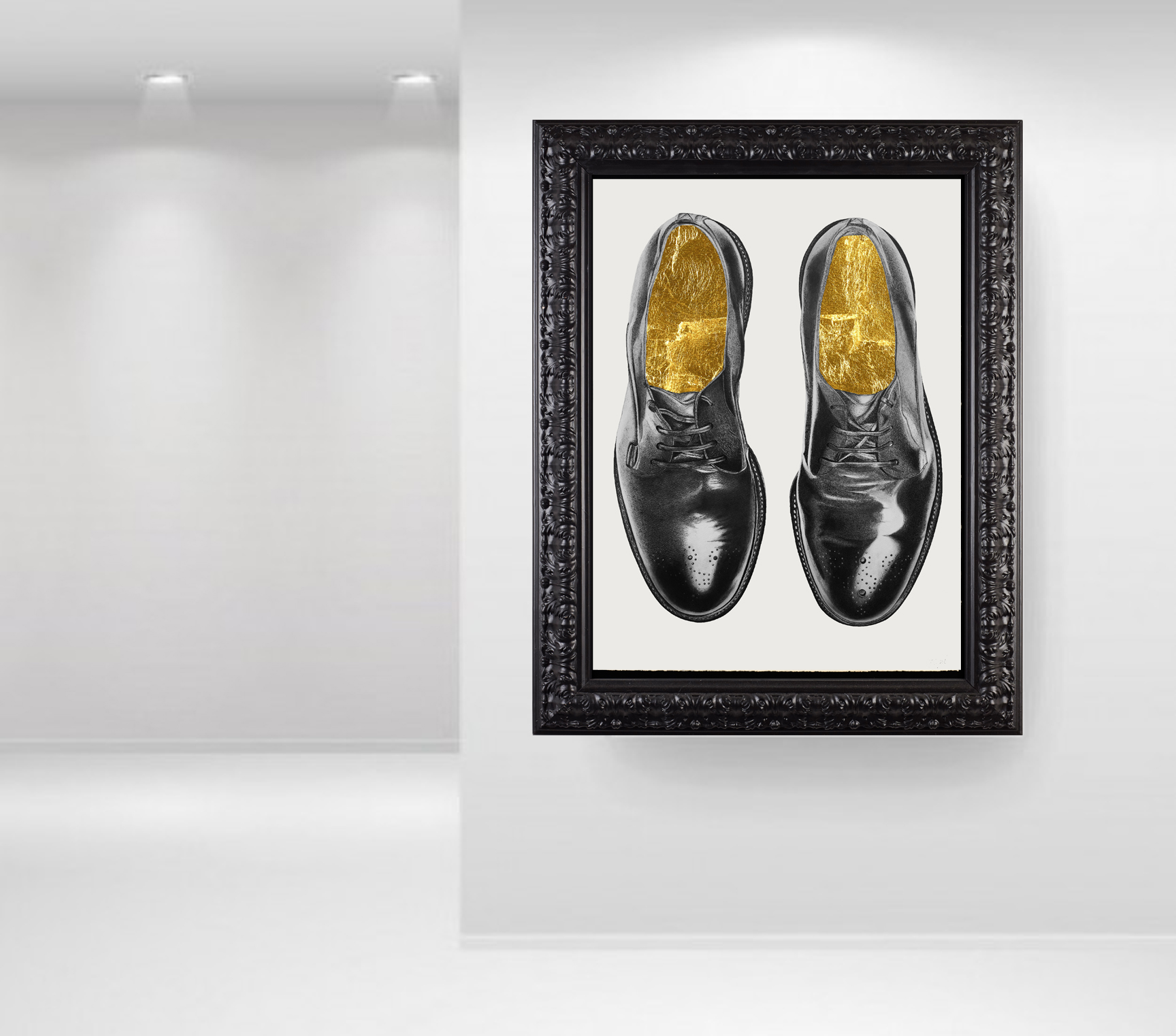 "Elizabeth Waggett, ""Poor Man's Shoes."" 2016. Ink, graphite, 24k gold. 22 x 30 in."