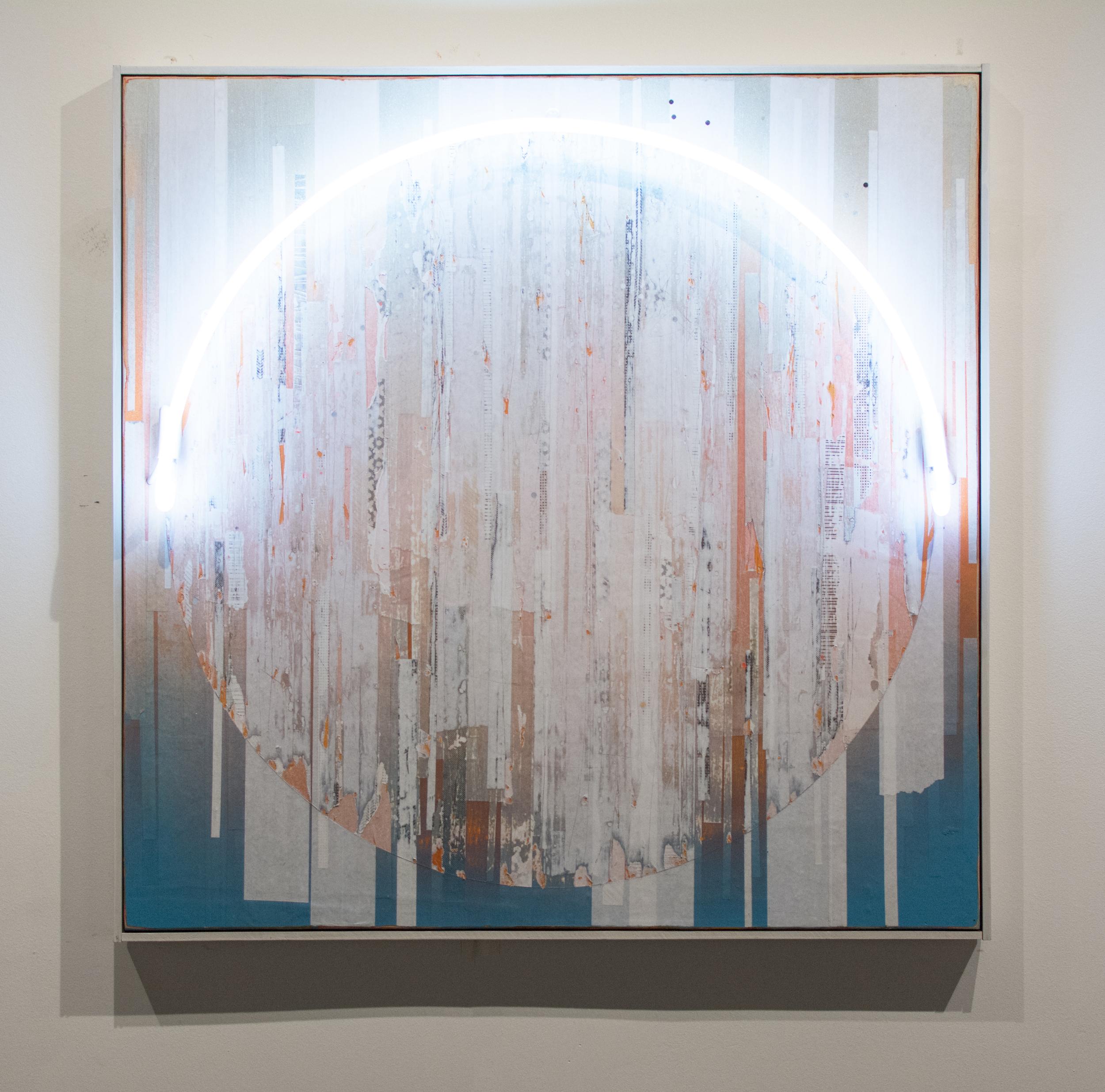 Erik Otto, Luminance, 2016. Enamel, acrylic, spray paint, paper and neon light on panel. 40 x 40. $4,500.