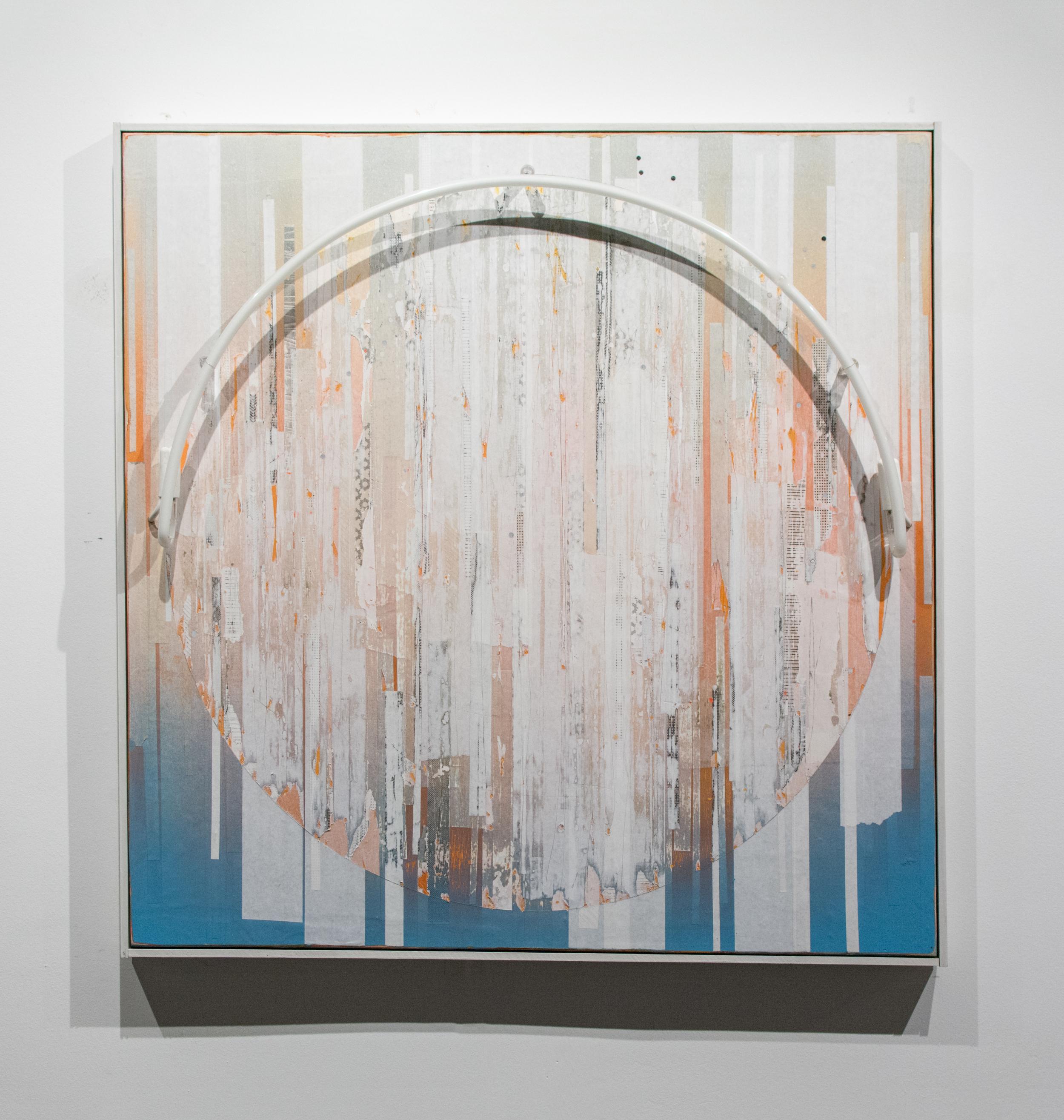 Erik Otto, Luminance, 2016. Enamel, acrylic, spray paint, paper and neon light on panel. 40 x 40 in.