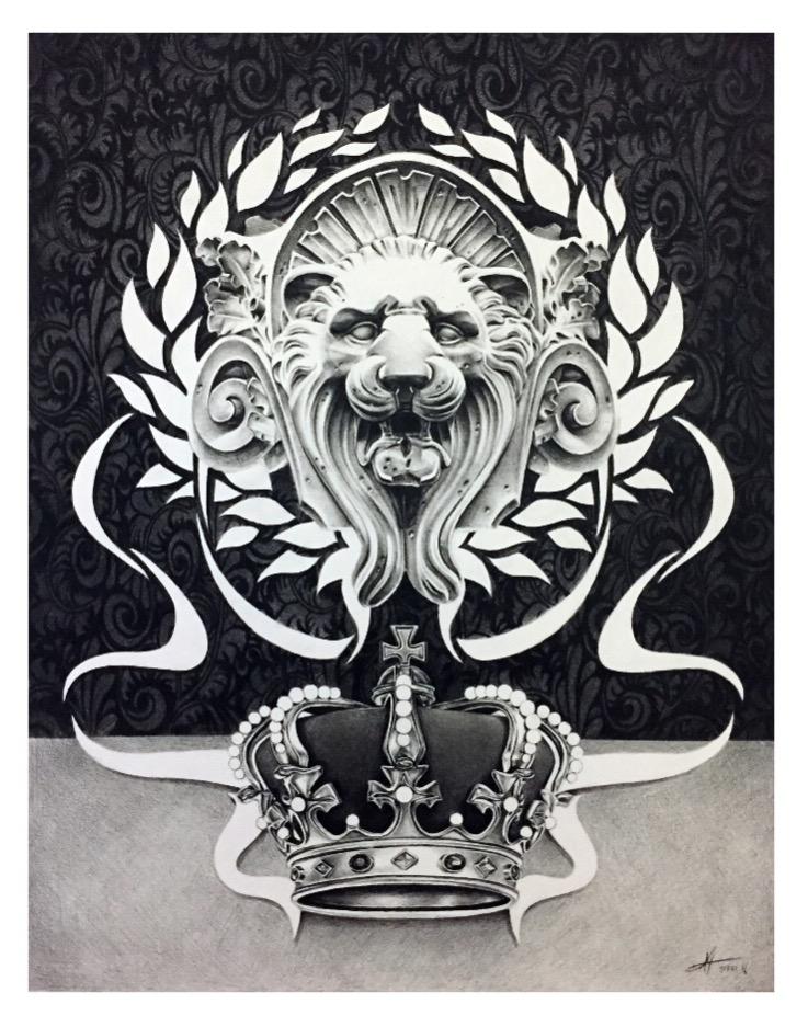"Joseph Grazi, ""Panthera Regal"" 2016. Colored pencil on paper, framed. 30"" x 24""."