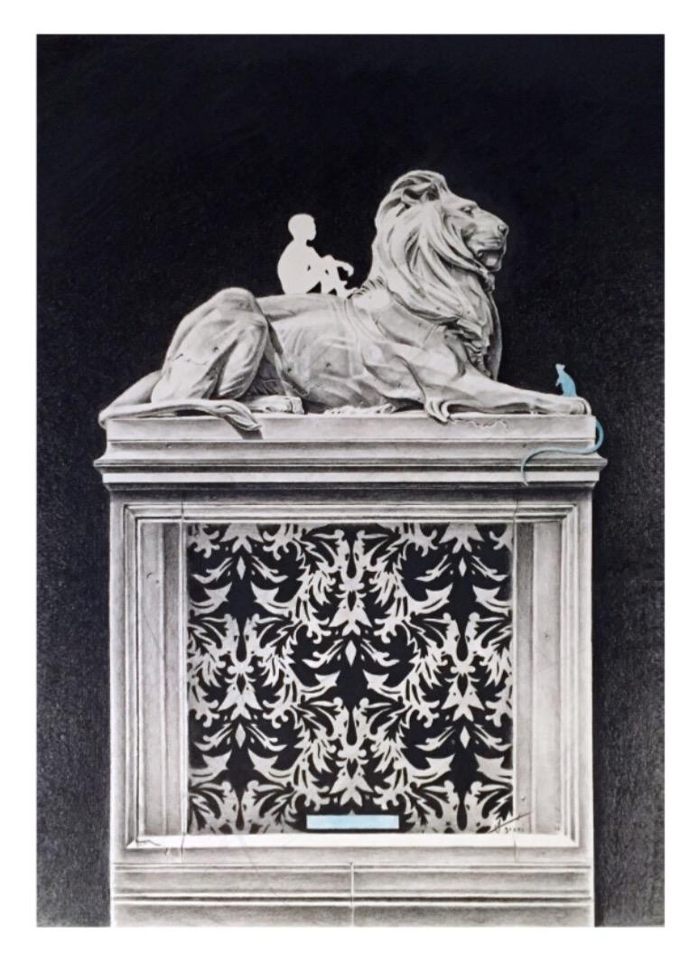 """Joseph Grazi, """"Panthera Defendo"""" 2016. Colored pencil on paper, framed. 33"""" x 25""""."""