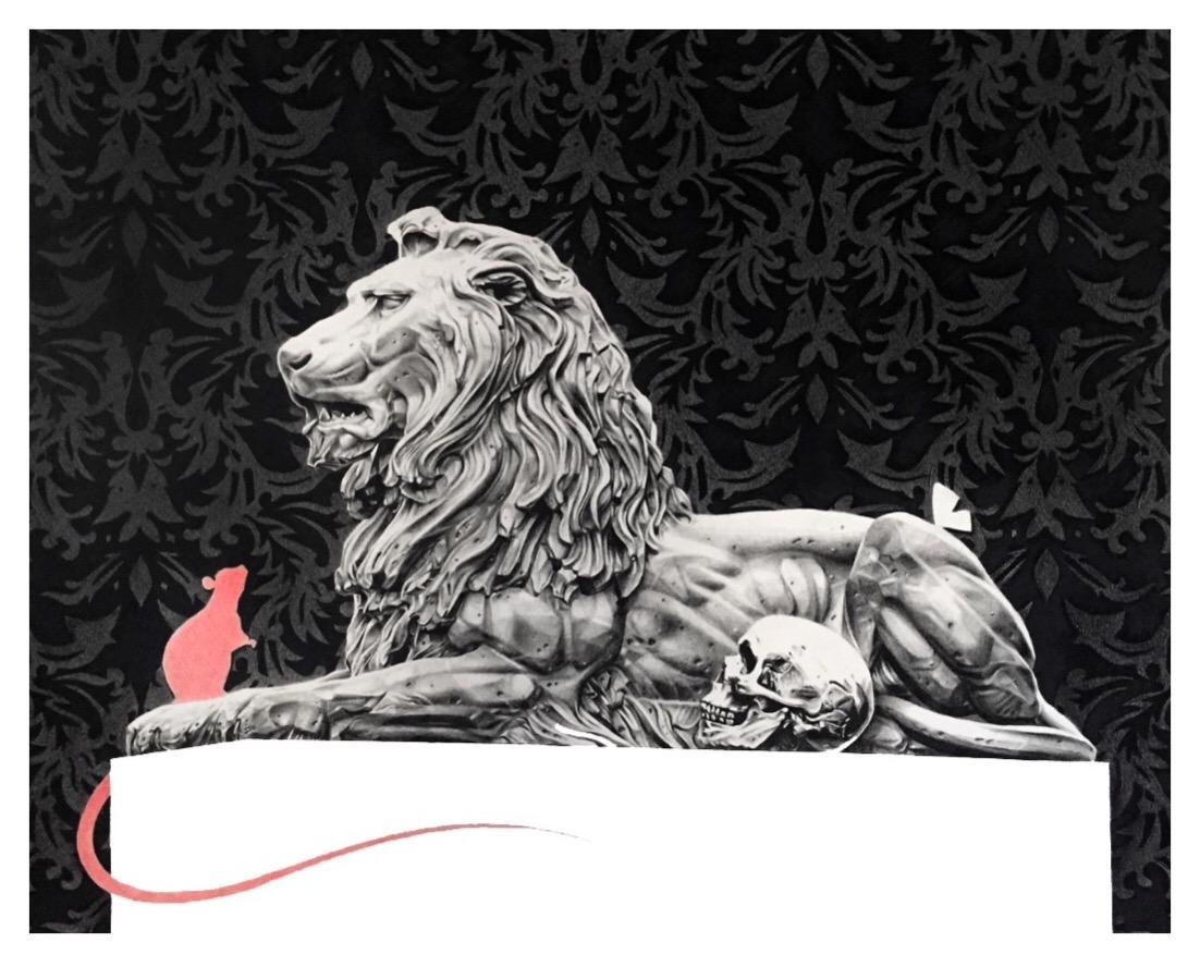 "Joseph Grazi, ""Panthera Rapax"" 2016. Colored pencil on paper, framed. 24"" x 30""."