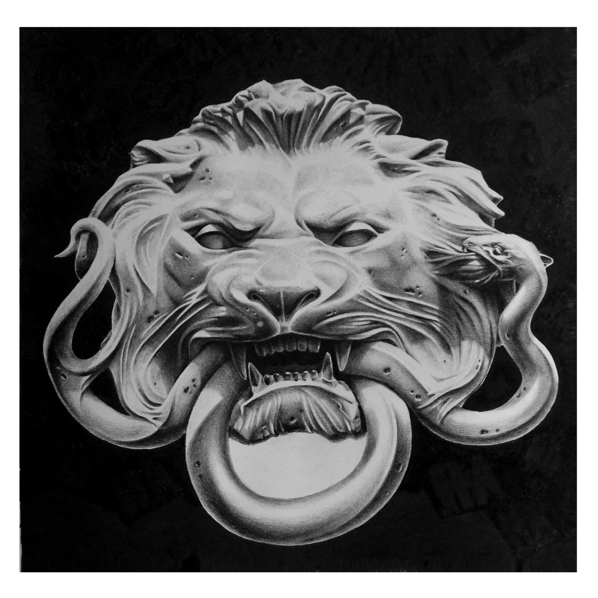 "Joseph Grazi, ""Panthera Forta"" 2016. Colored pencil on paper, framed. 20"" x 20""."