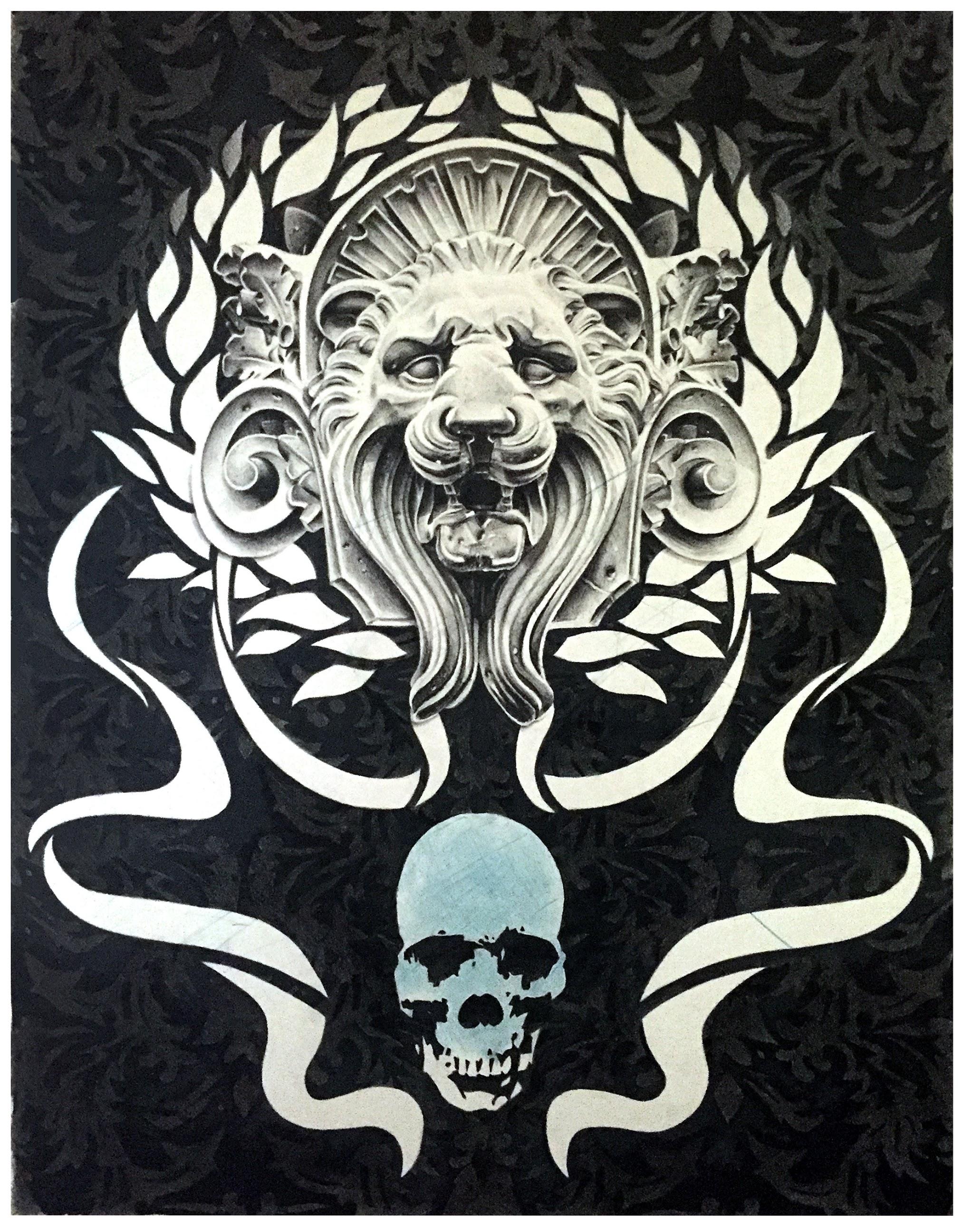 "Joseph Grazi, ""Panthera Morta"" 2016. Colored pencil on paper, framed. 33"" x 25""."