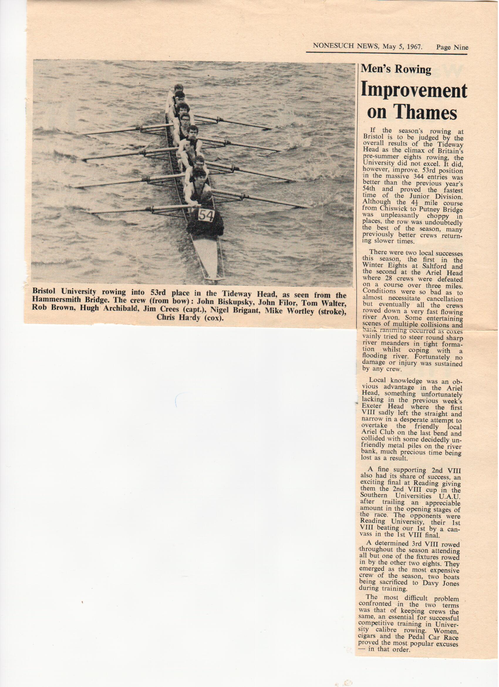 UBBC 1st VIII 1967