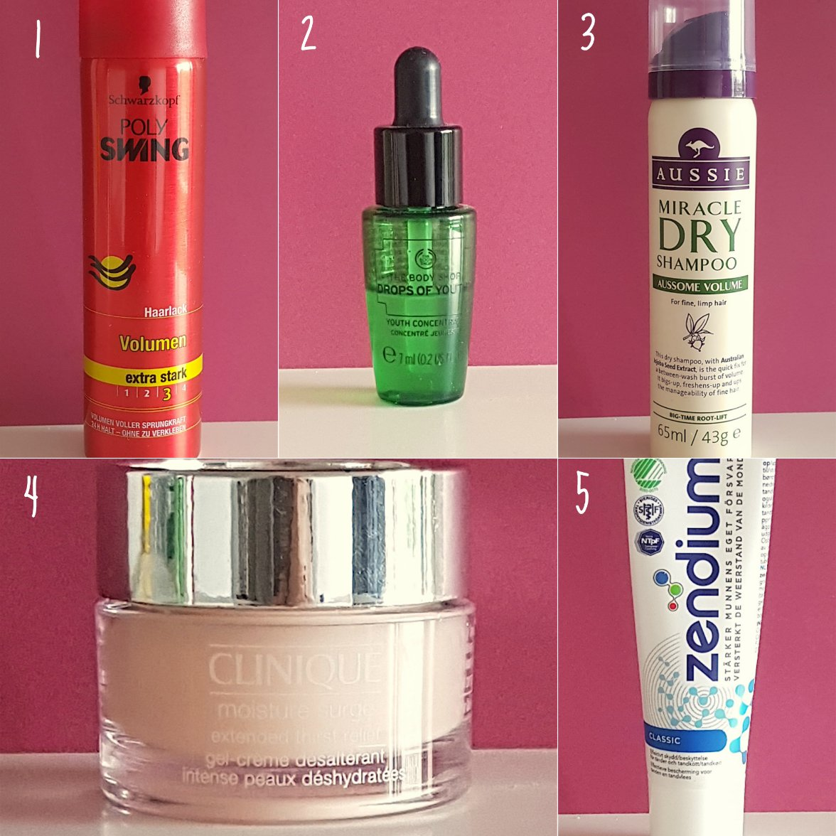 Nr. 1 Schwarzkopf hair spray, Nr 2 The Body Shop Drops of youth, Nr 3 Aussie dry shampoo, Nr 4 Clinique moisture day/night cream, Nr 5 Zendium toothpaste