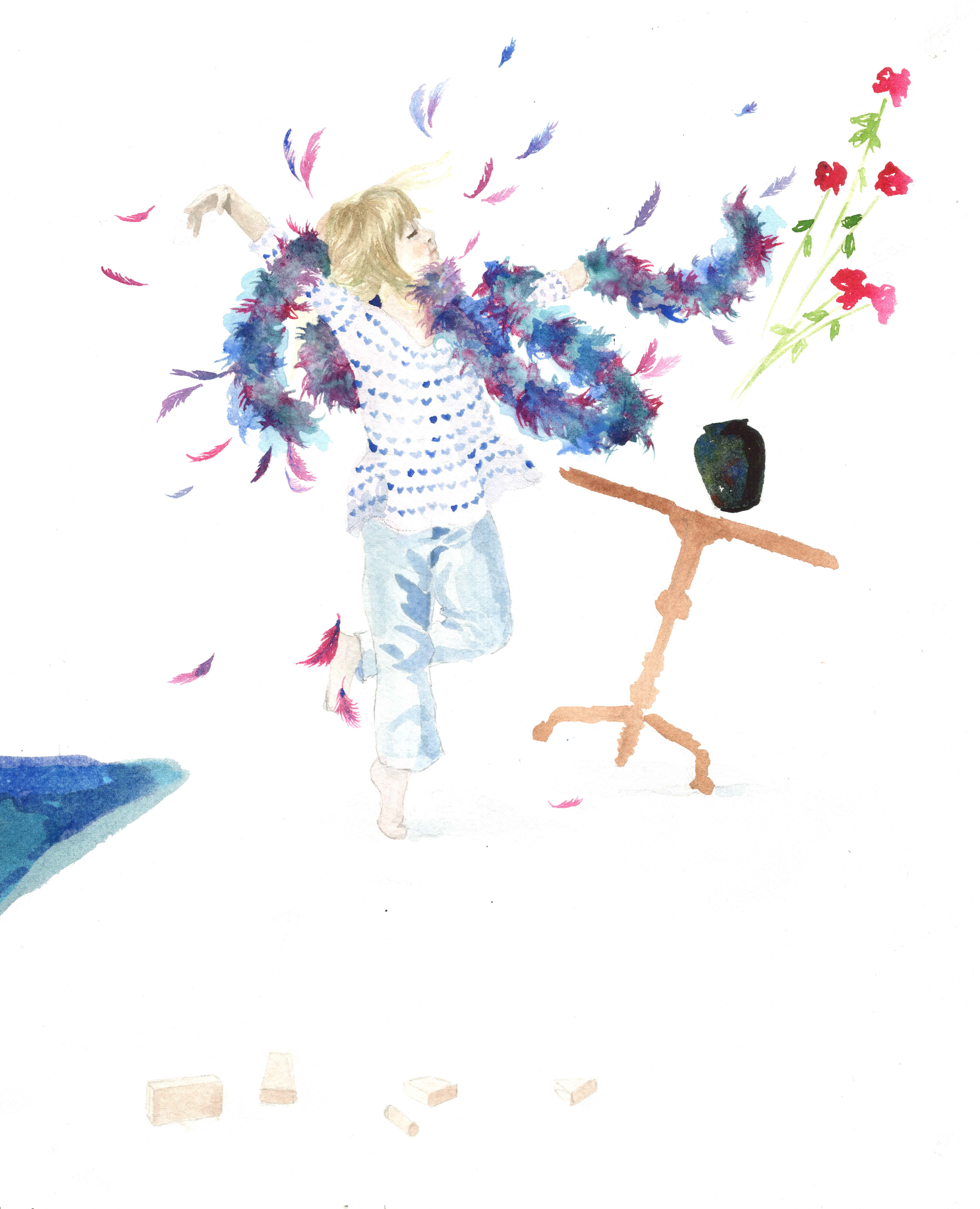 """Illustration for the book, """"I Like You, Samantha Sarah Marie."""" Watercolor on paper."""