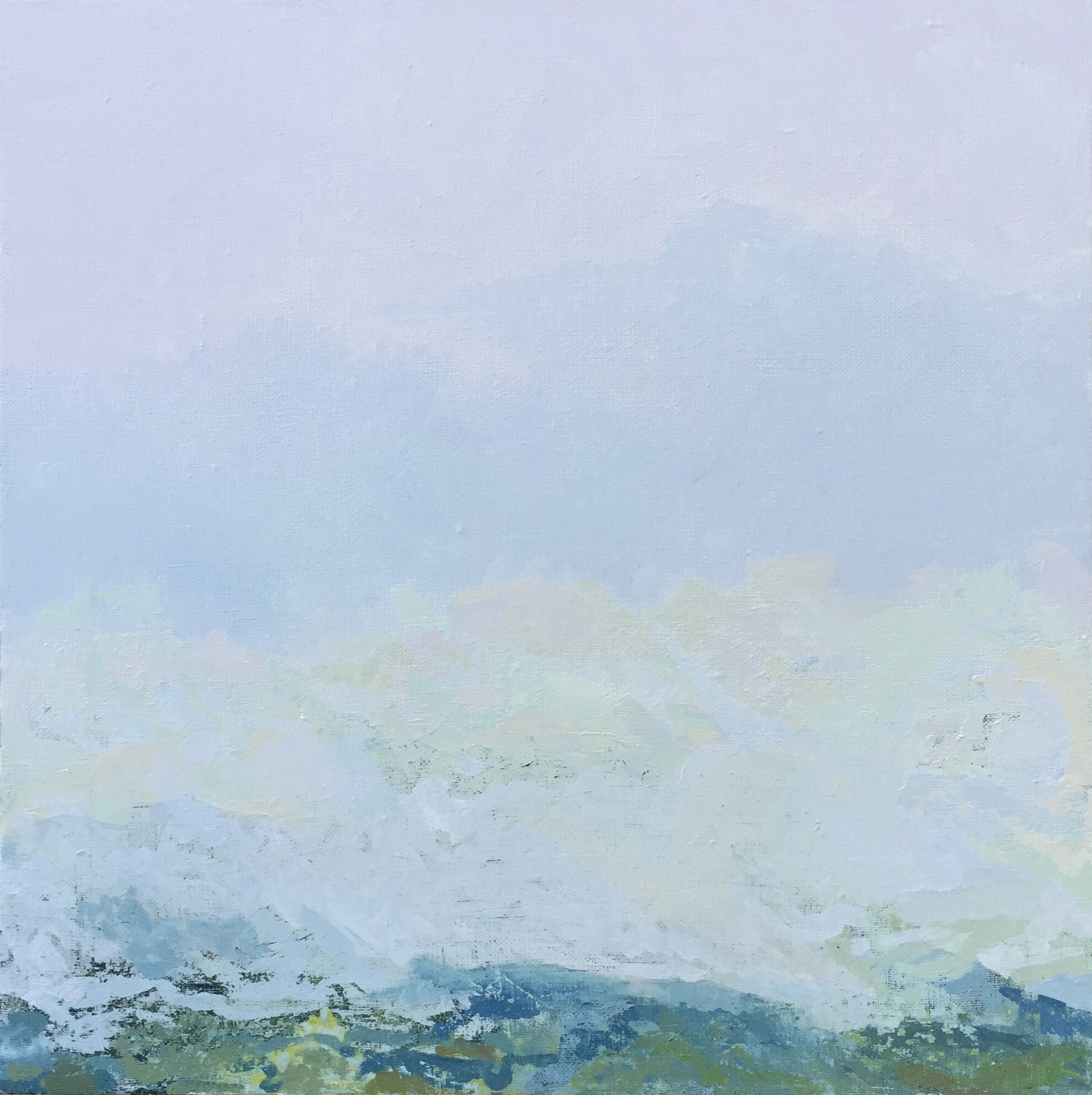 Fog over Lookout Mountain, 30 x 30 inches, oil on linen.