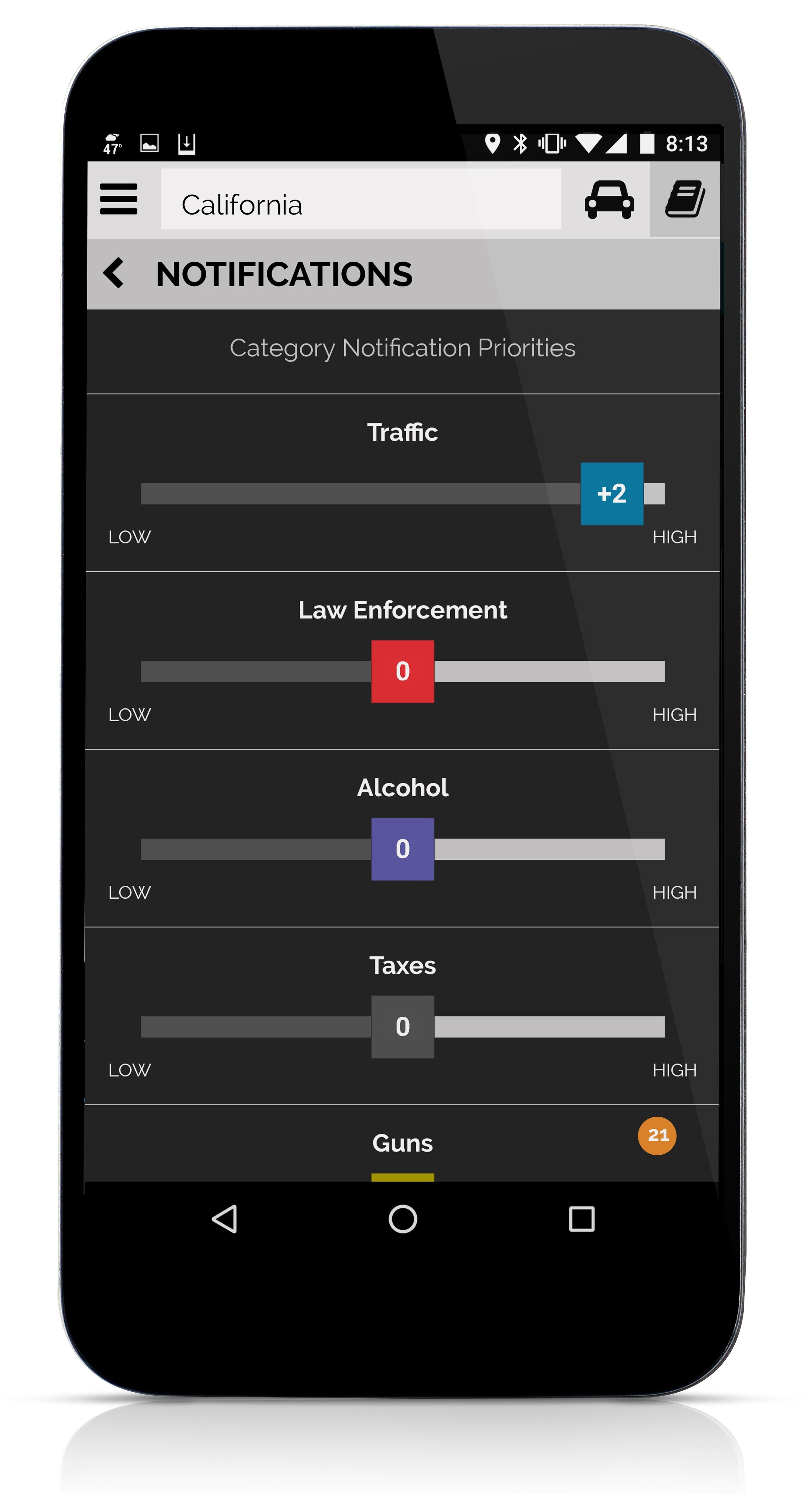 Priorities determine whether and how you receive notifications of law changes. When you first start using ATLAS you are asked to set notification priorities for each category. Afterwards, you can adjust all priorities within a category simultaneously at any time. ATLAS ignores laws of level 1 priority (out of 5) totally.