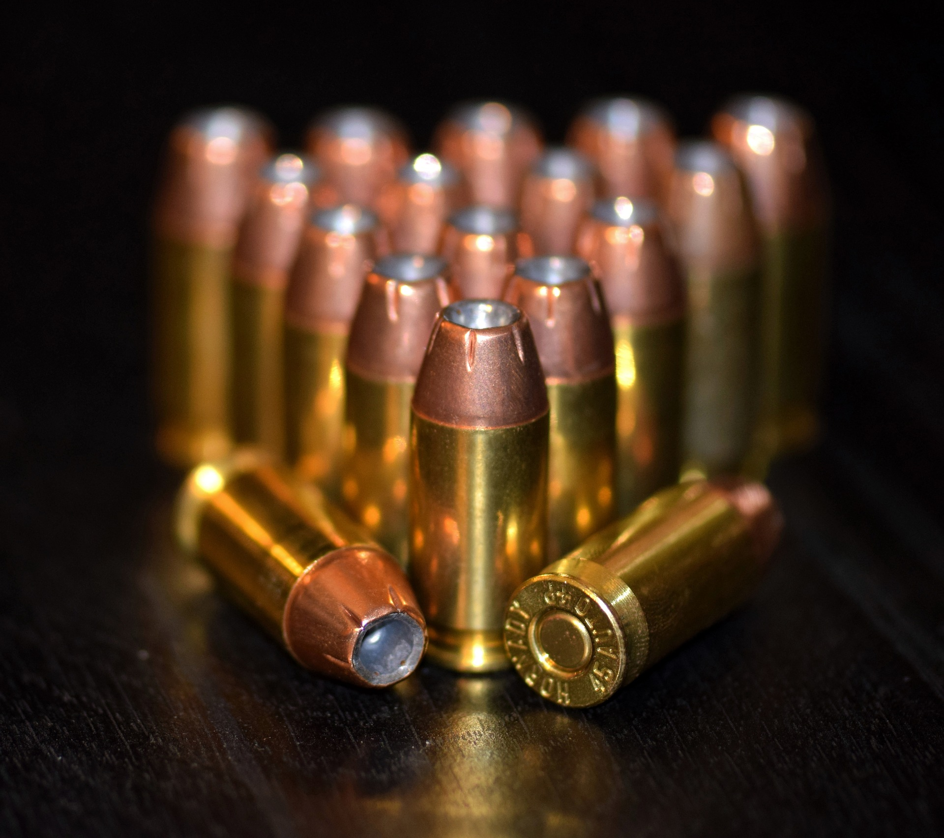 A magazine that holds the number of bullets in this picture is illegal in nine states