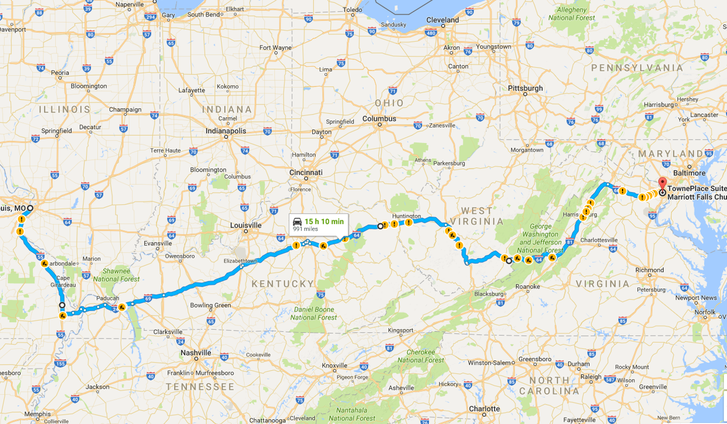 I-40 through Tennessee is another way nearly identical in length,time and legality to this one