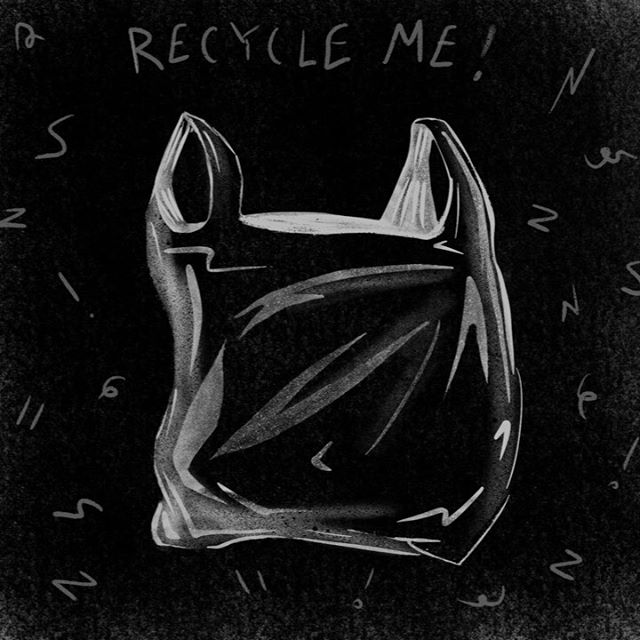 Tip 11: plastic bags CAN be recycled!!! But not in ur normal bins! Drop off bins r at many grocery stores (in Chicago most Jewel-Osco, Target and Mariano's should have one) Find a drop off near u at plasticfilmrecycling.org or just google it. Don't throw them out, they will take 1,000 years to decompose!😱😱😱 #inktober #inktober2019 #plasticfree #climateaction #doyourpart #dontbelazy #recycledammit #getatotebag