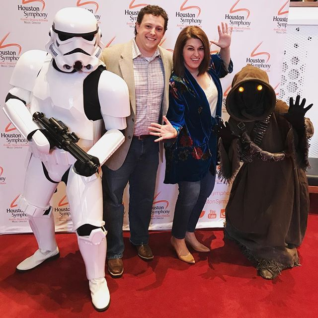 "It's not every day you get to take a picture with a storm trooper and a Jawa! | We're watching ""A New Hope"" with L I V E music from @housymphony... the hubs is (ever so slightly) excited! 😄❤️🎬"