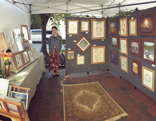 How do you like my new display? I'm feelin' fresh at Asheville Art in the Park - I'll be here until 5 with lots of originals and fine art prints!