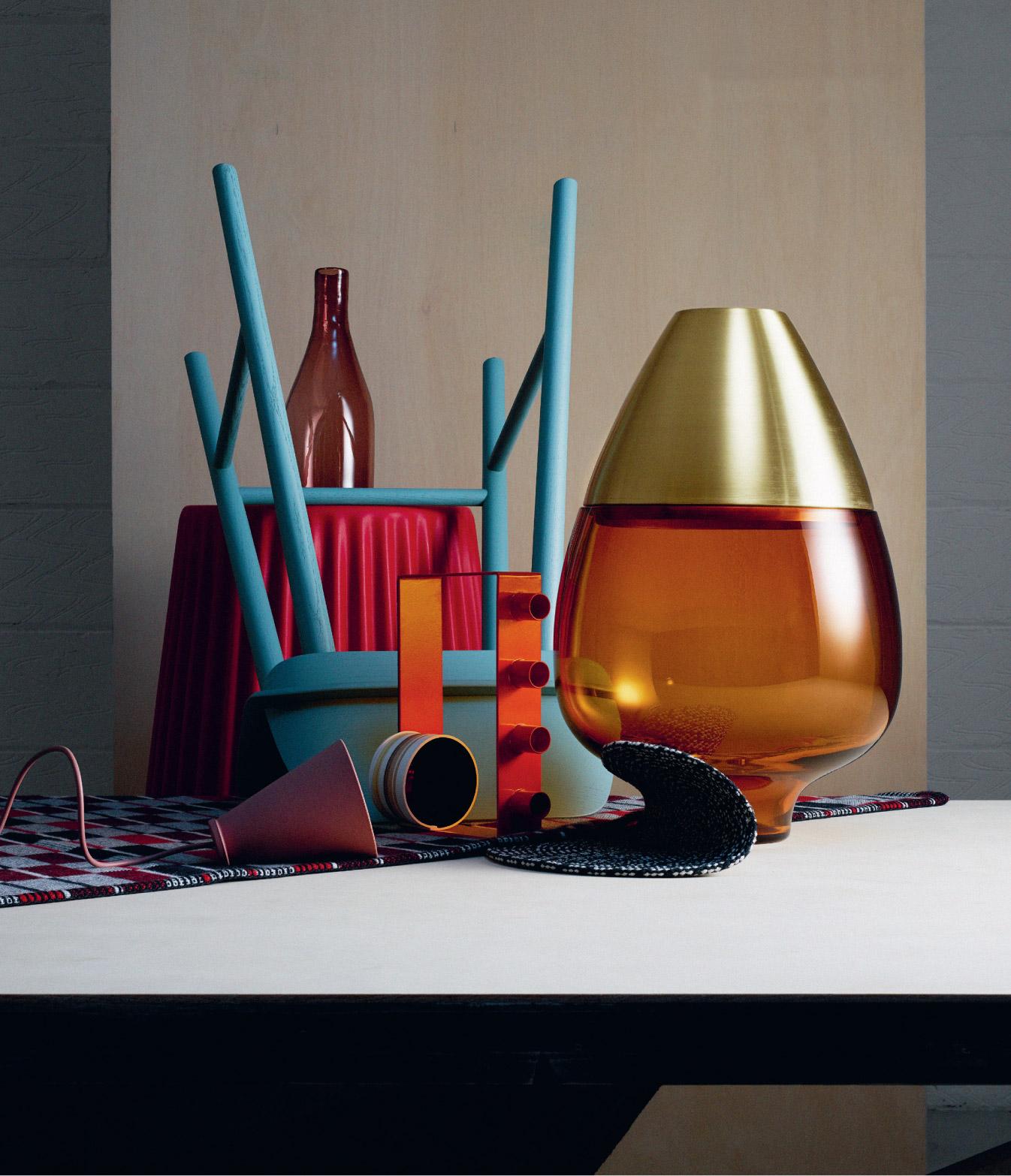 ▲ Product arrangement for a Hole & Corner magazine photo shoot , showing 'Gerbera' Vase on pedestal