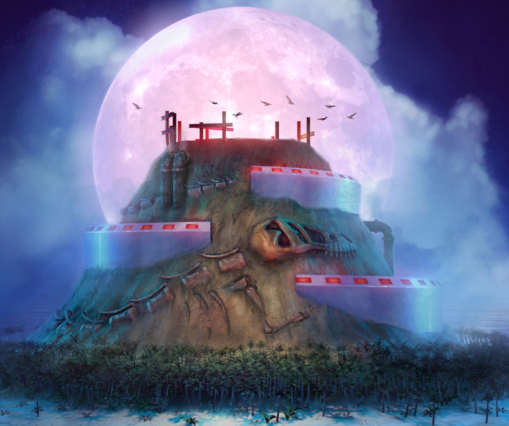 Home base of Monsterface Industries, Dino-skeleton Island, as envisioned by  infEhnite Design