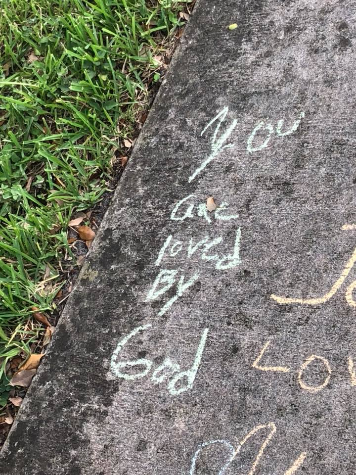 Our Amigos wrote encouraging messages on the sidewalk in front of the church - We just love this