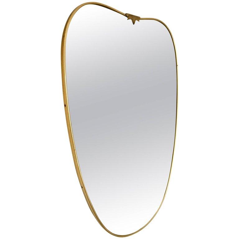 Italian Brass Mirror 1950s