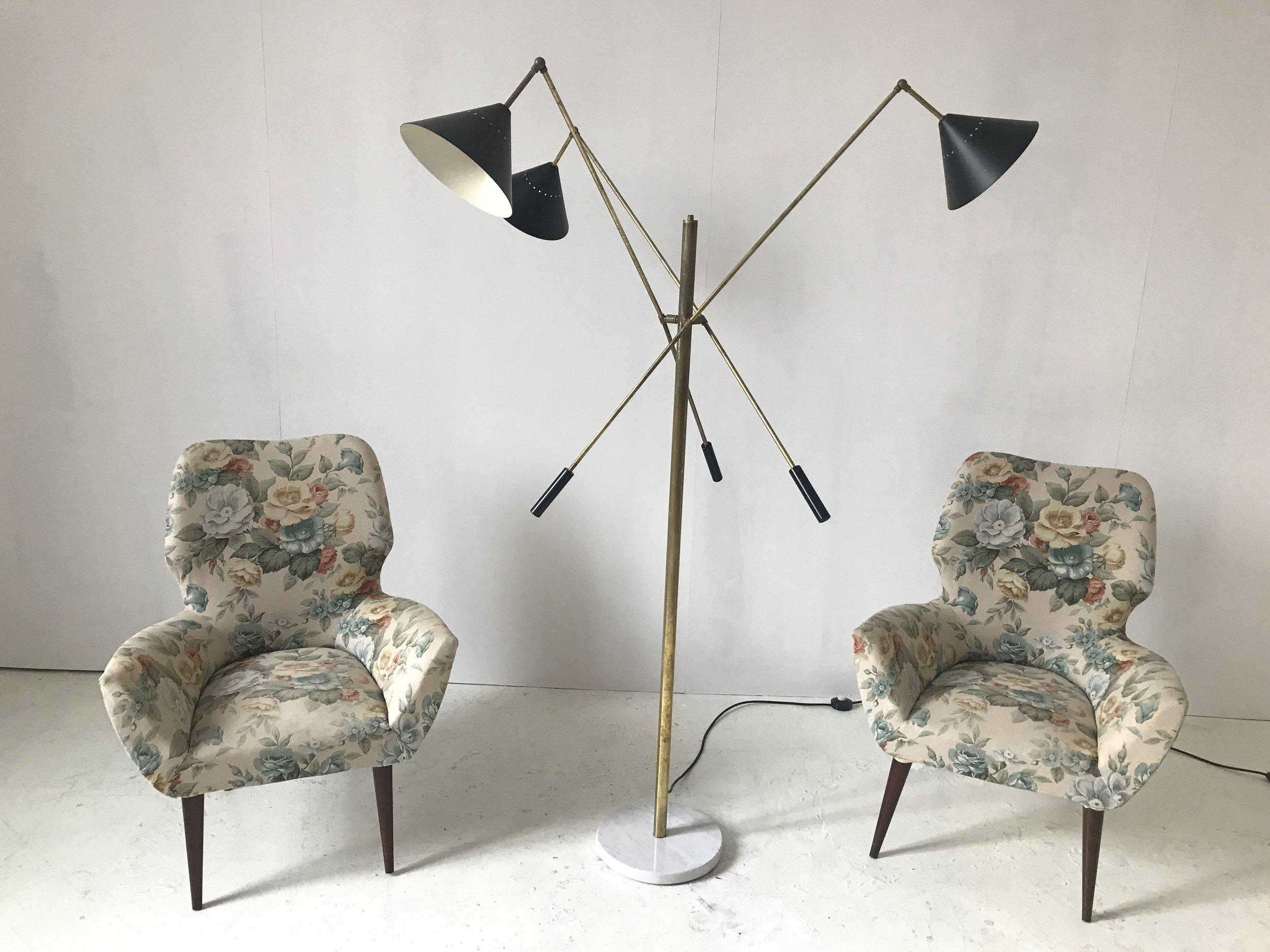 LM 07 Italian Three-Arm Mid Century Style Floor Lamp