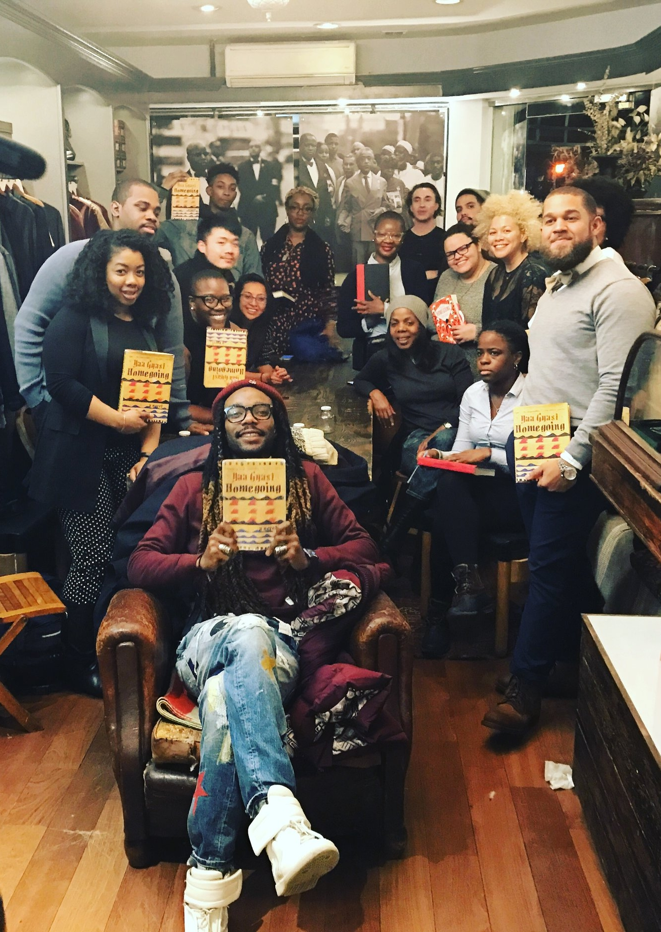 The Literaryswag Book Club at our January meeting, discussing Yaa Gyasi's Homegoing.