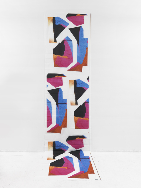 Cheryl Donegan, Tracksuit Banner [Magenta, Blue and Red Ginghams] 2015