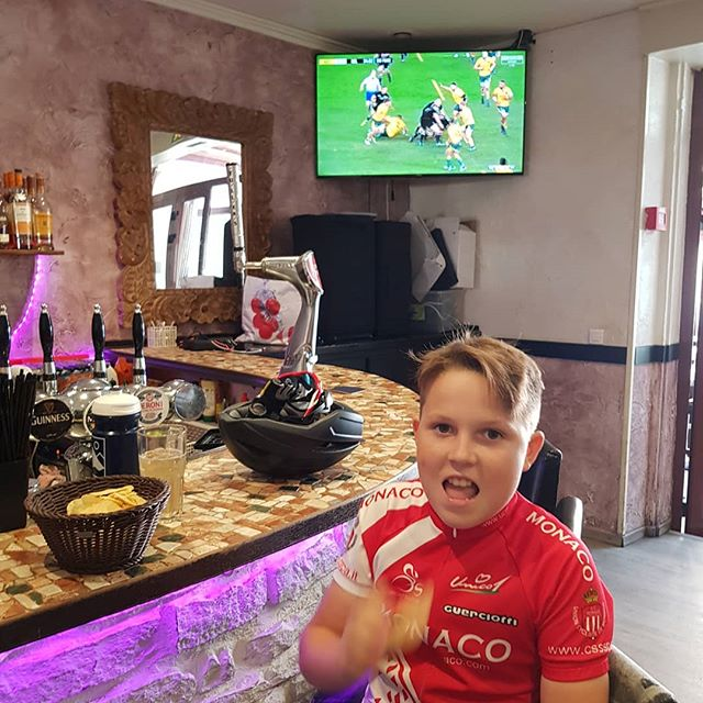 Good ride with my son to Nice yesterday then finish in true COCC style at Slammers watching rugby ...He's only on a #1 I might add , dad had a couple!!