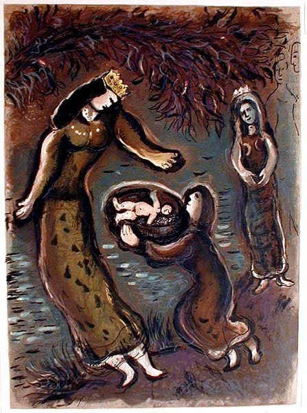 Pharaoh's Daughter Finds Moses in the Basket  by Marc Chagall