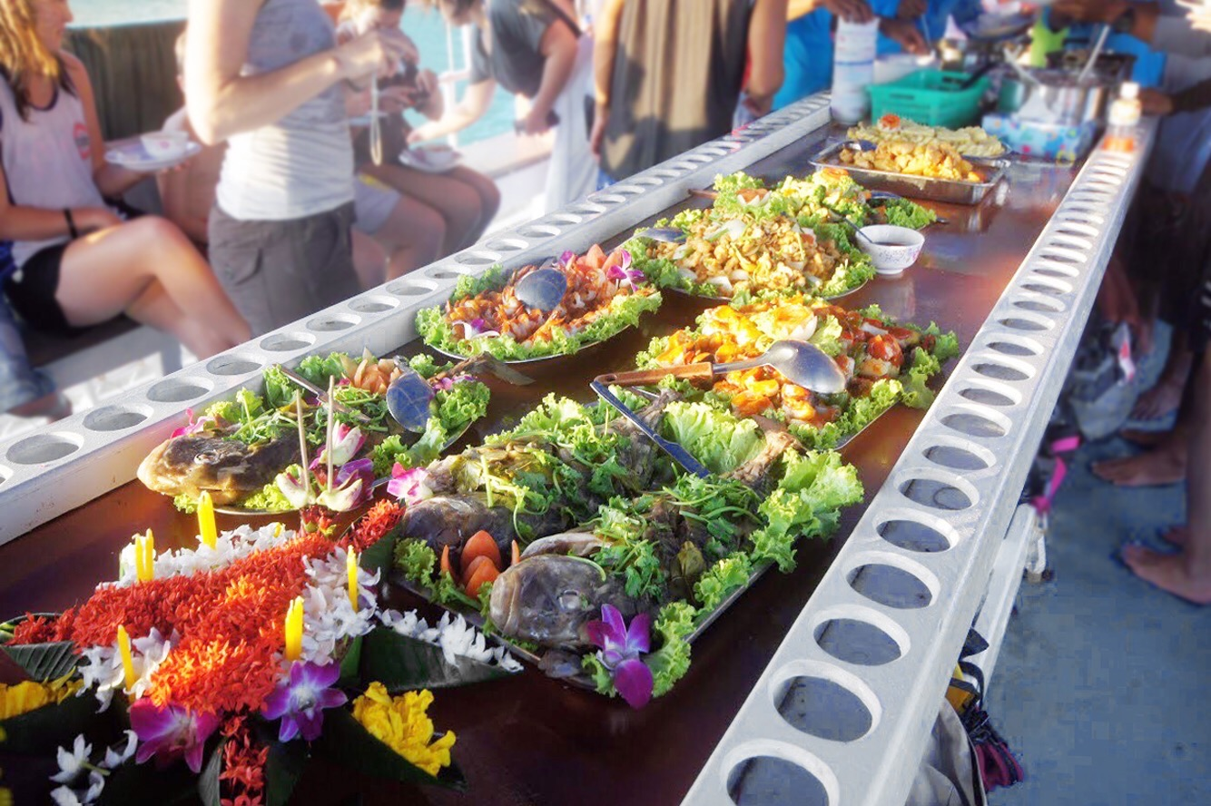 Lunch is served on the John Gray Sea Canoe Tour Hong by Starlight in Phang Nga Bay Phuket Thailand