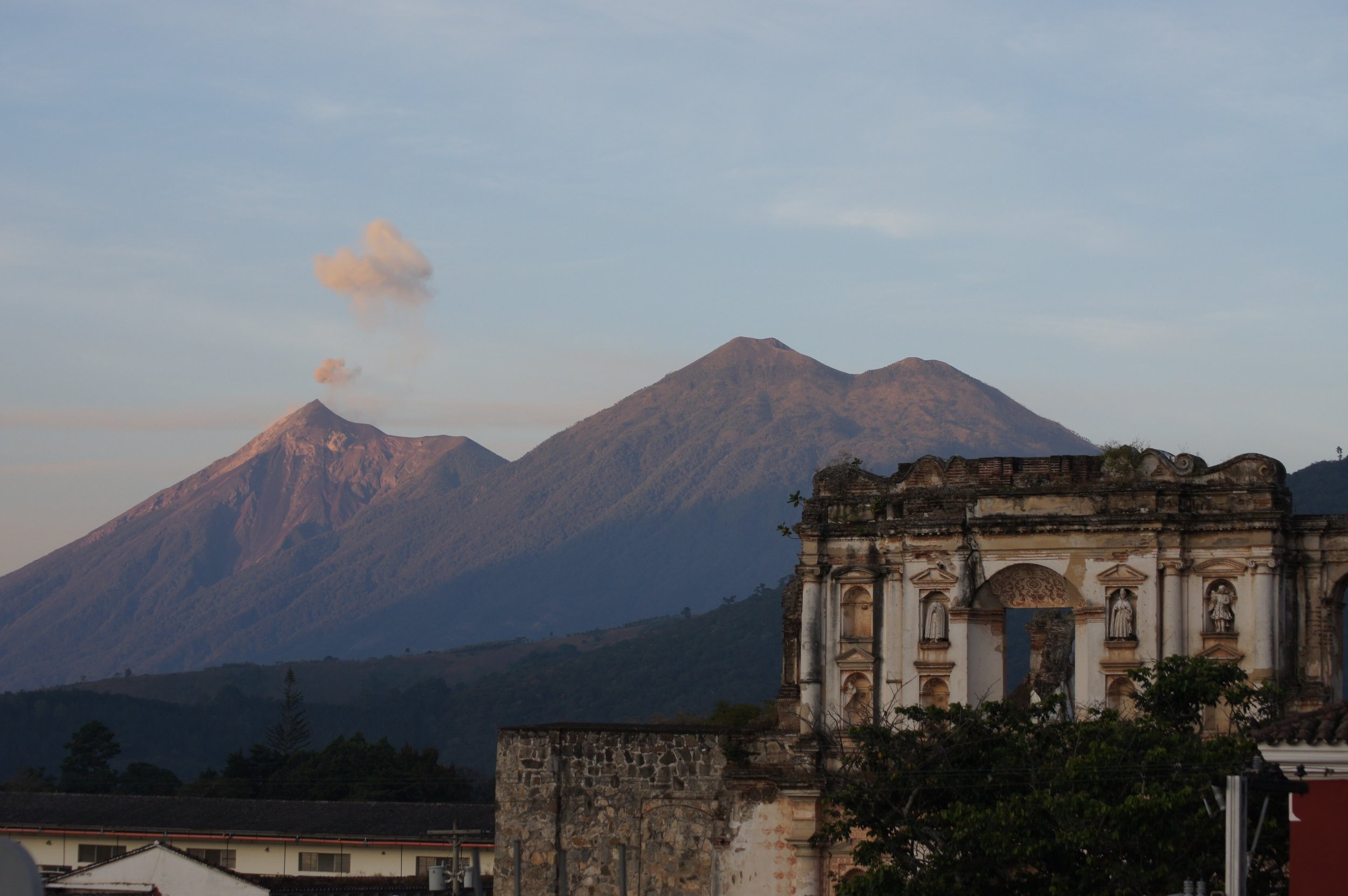 View of Agua, Acatenango and Fuego from the roof of Casa Antigua.