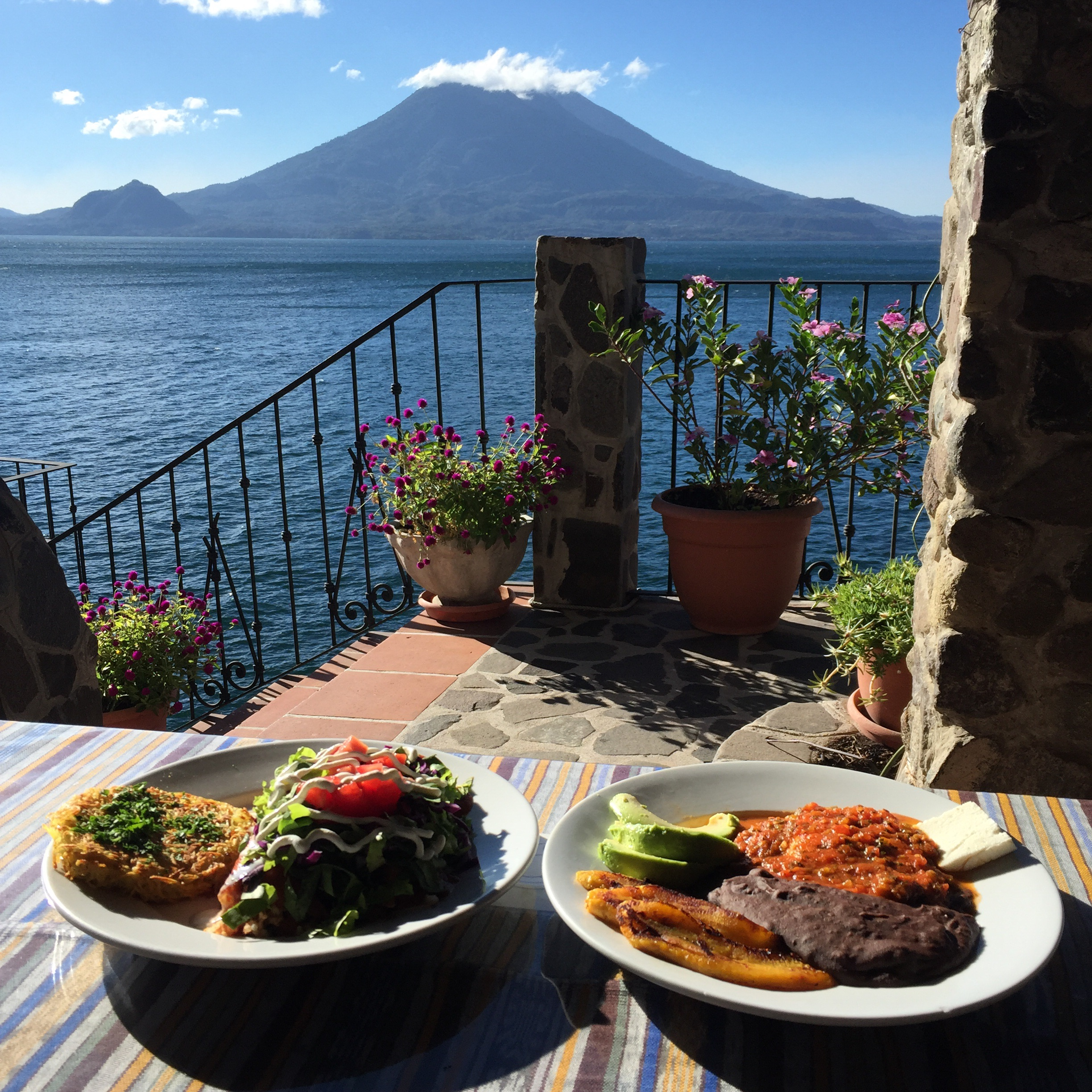 Breakfast with a view at Casa del Mundo on Lake Atitlan.