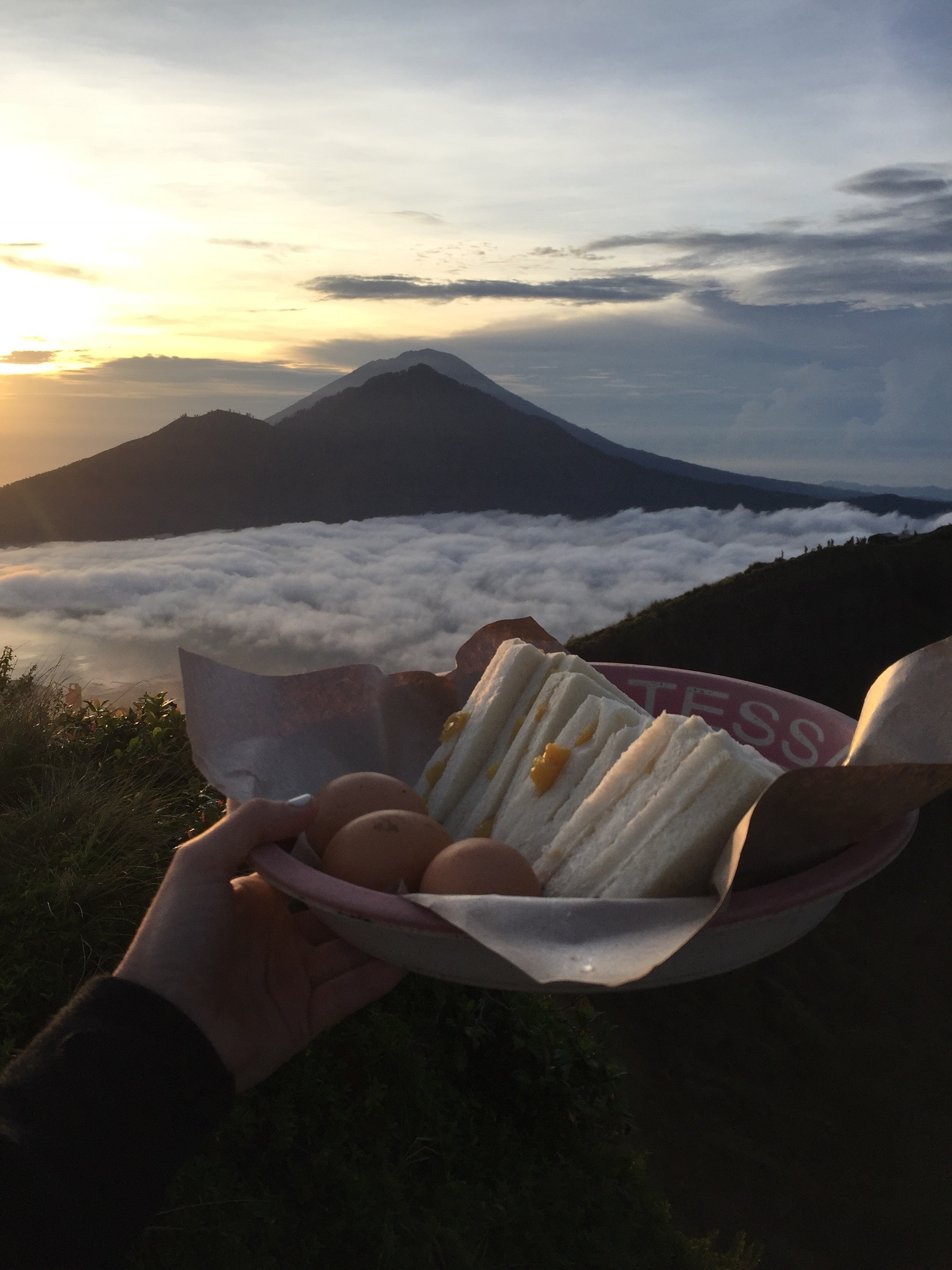 Steamed banana sandwiches and eggs, cooked over the steam rising from the depths of Mount Batur.