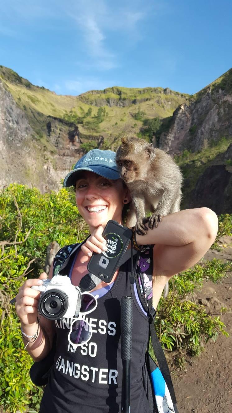 A curious monkey on my shoulder as I descended Mount Batur after the sunrise.