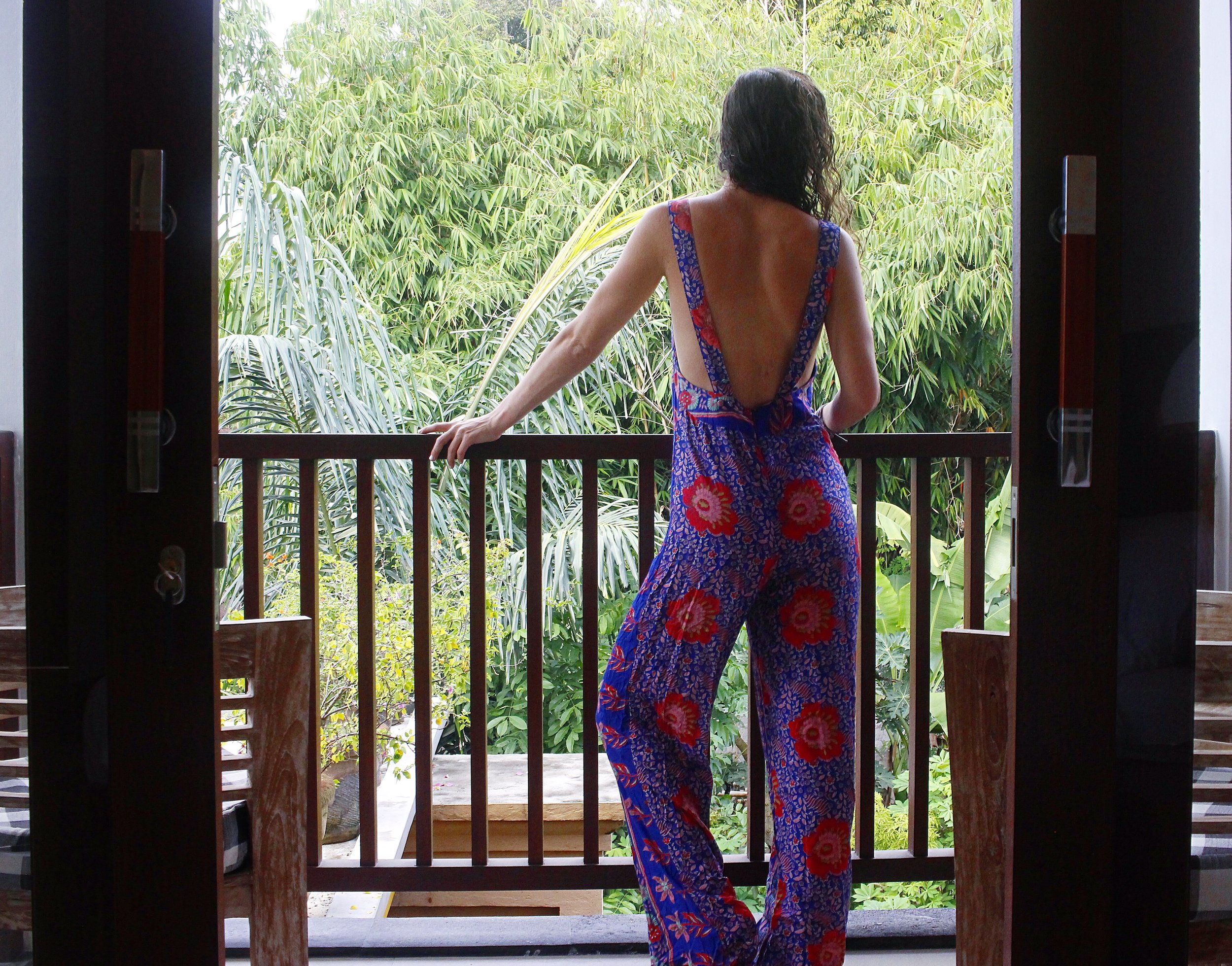 Gazing over the balcony of my private room in BliBli Villa, Penestanan, Ubud. Click image to book.