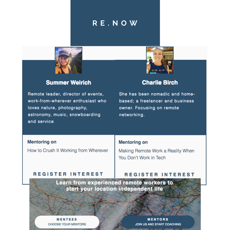 Re.Now featuring Rebel + Connect as mentors to remote workers and companies.