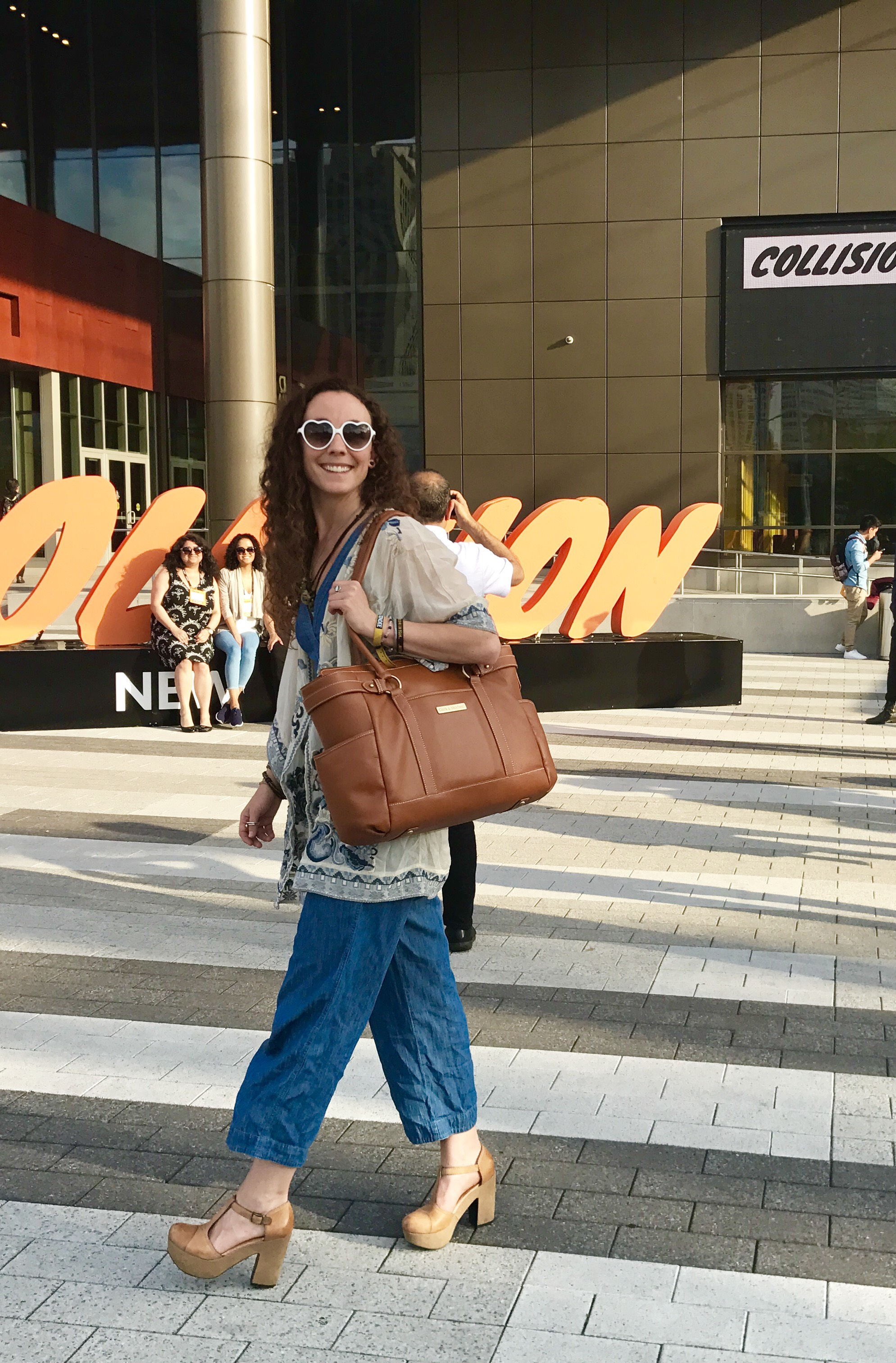 Collision Conference and Clark & Mayfield handbag.