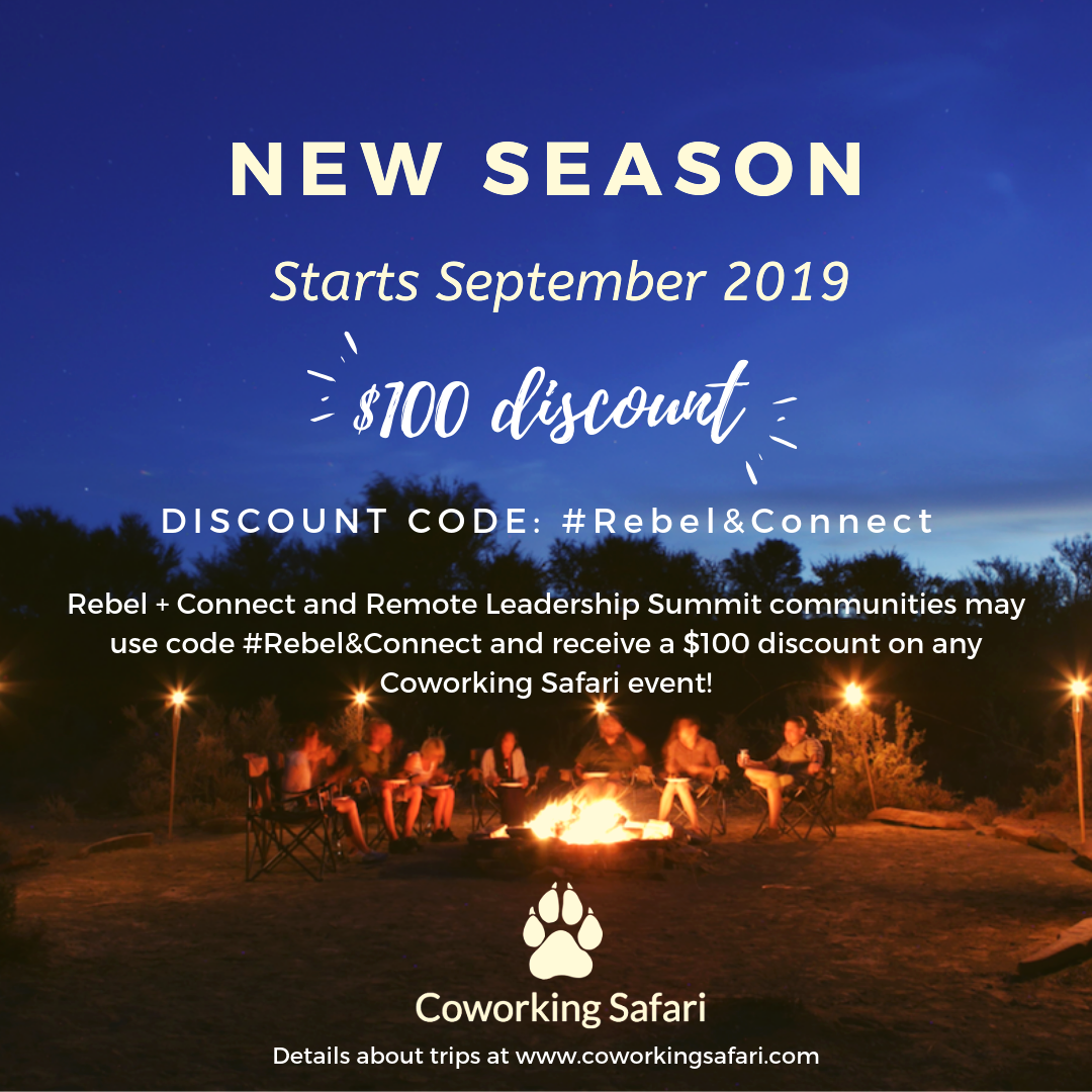 Receive a $100 discount on any  Coworking Safari  booking when you use code #Rebel&Connect.