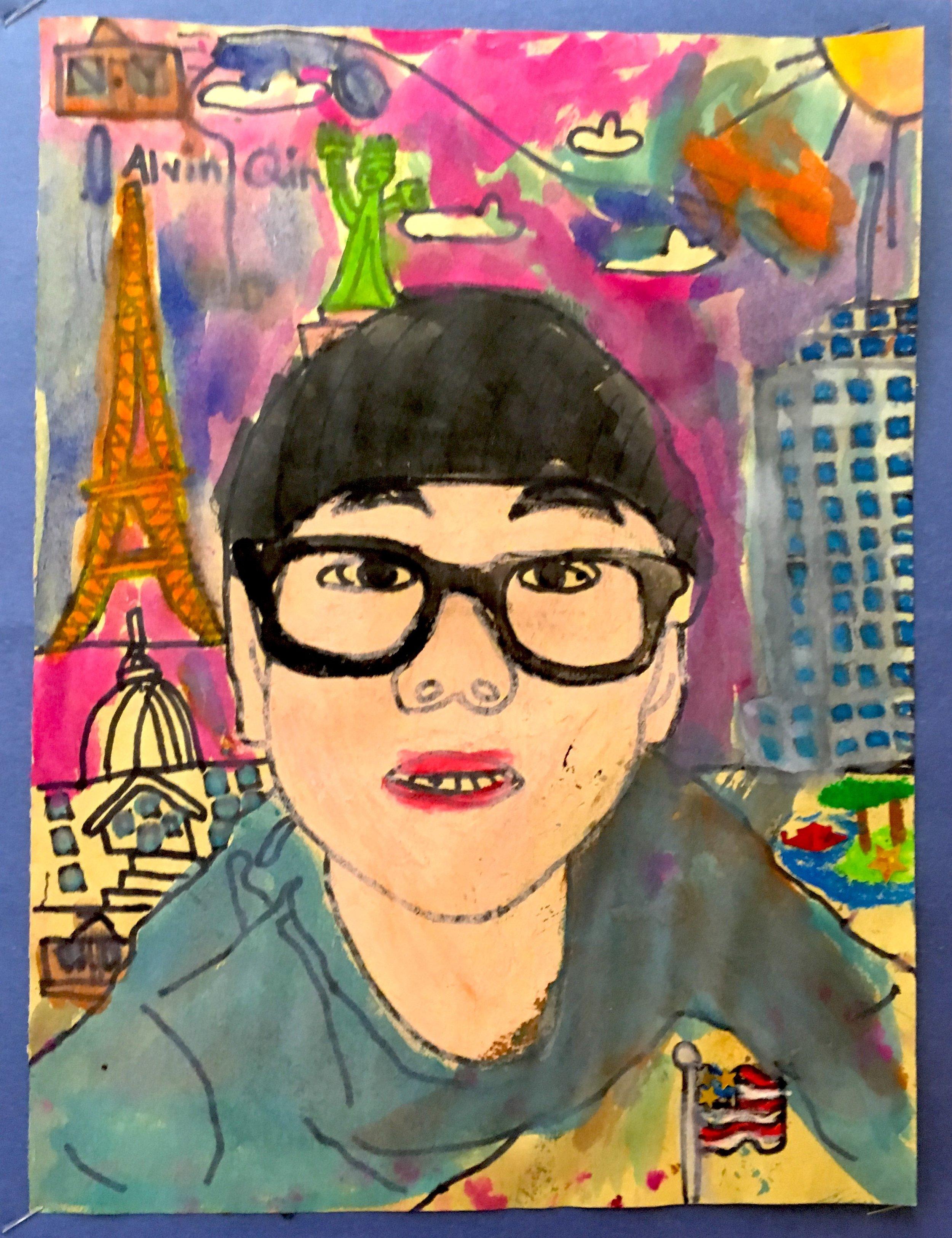 Me, i and Myself, Inspired by Frida Kahlo,  Alvin Qin (2nd grade), 2017