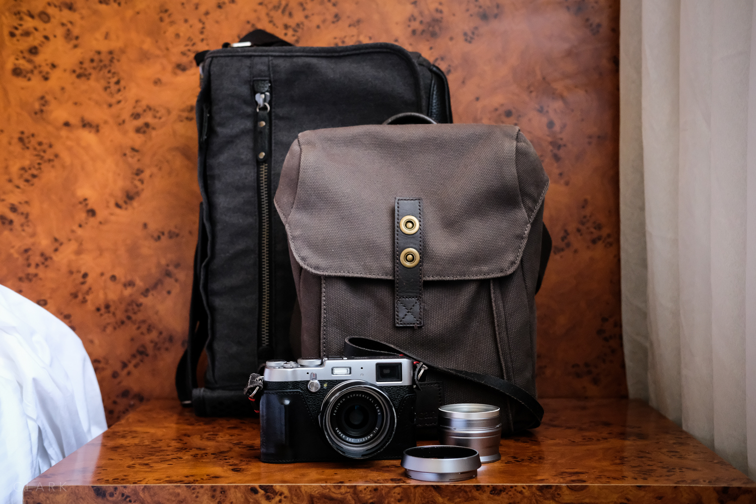 The Cooper 13 Slim camera bag by Tenba (back), Rob by Millican and the X100T + WCL-X100