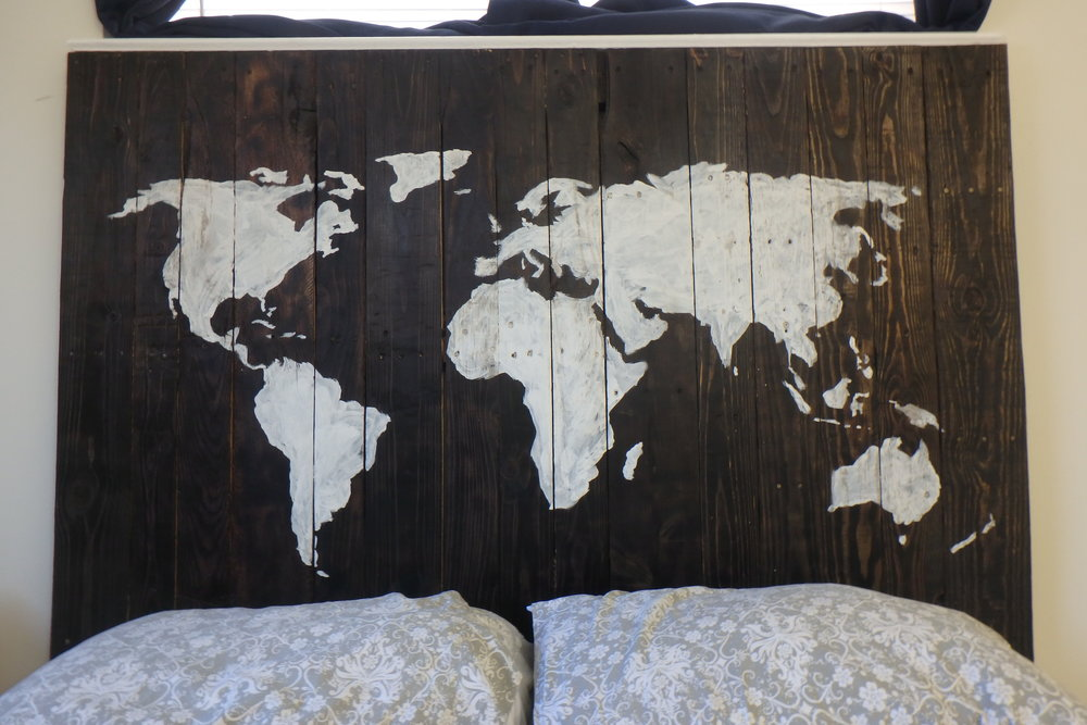 World Map Headboard Union Artisan, Custom Furniture World