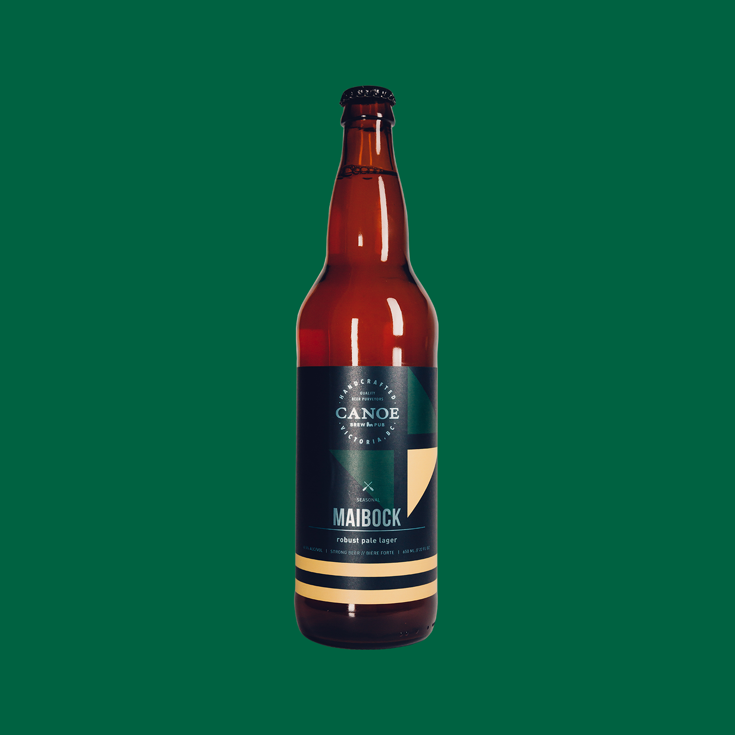 Maibock - A robust pale lager.A close relative of Helles, Maibock is a golden lager brewed to a higher strength. Full, flavourful, with subtle, spicy hop aroma and rich, satisfying body.ALC: 6.5%IBU: 22 (low bitterness/hoppiness)Malt: Moderate