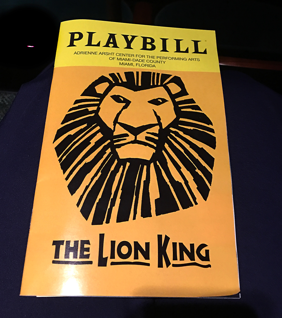 Playbill for The Lion King