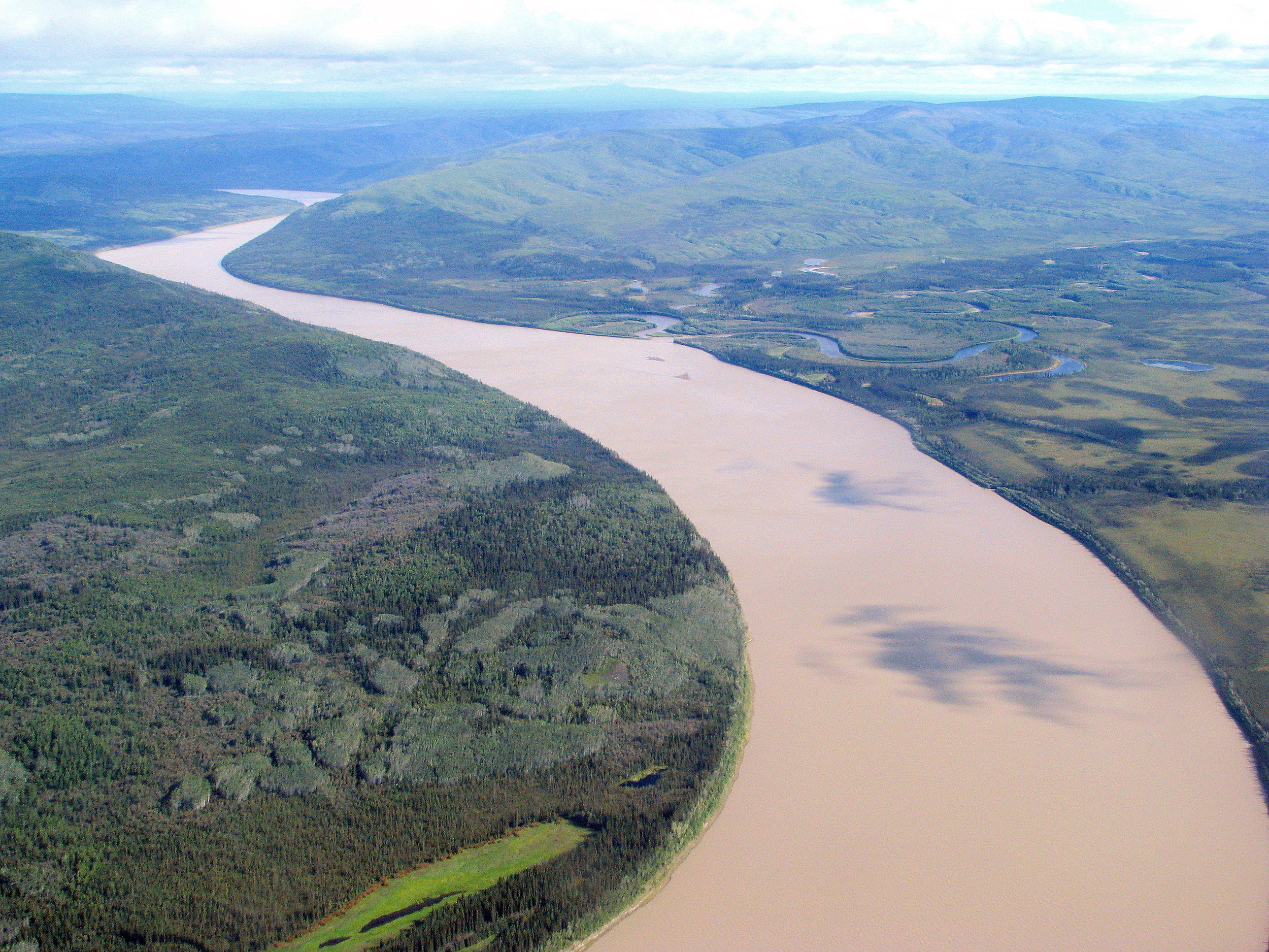 Aerial view of the Yukon River in interior Alaska.
