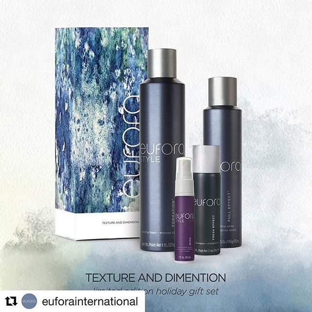 The Eufora MUST HAVE gift of the season! Amp up your style with the TEXTURE AND DIMENSION limited edition gift set.  Includes: Formation 8 oz. Full Effect 5 oz. Fresh Effect 1.7oz. Retain 1 oz.
