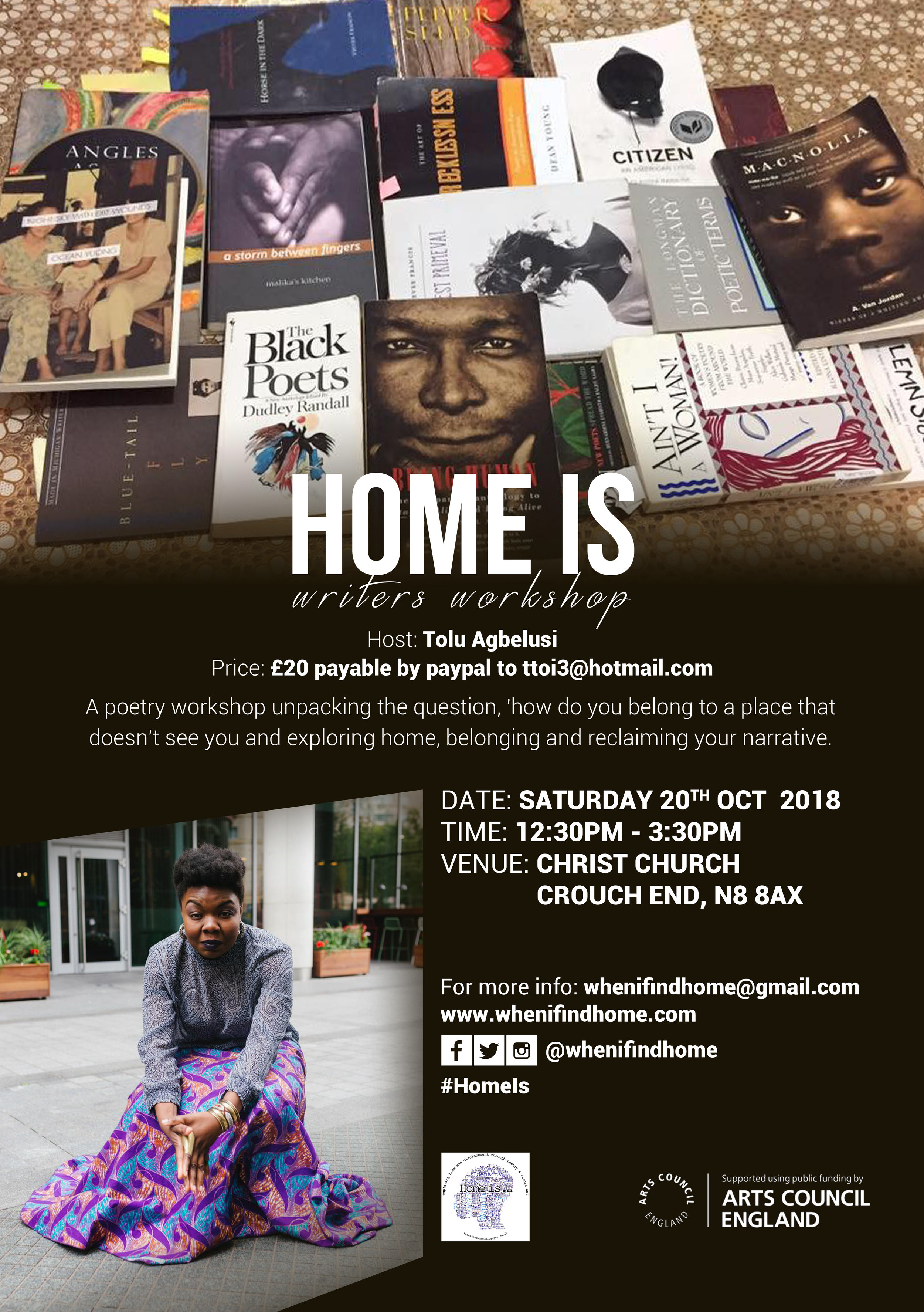 A poetry workshop unpacking the question, how do you belong to a place that doesn't see you and exploring home, belonging and reclaiming your narrative.  Whether you are curious, dabbling, seasoned—as long as you have an interest in writing, this is for you.  Fee: £20 via paypal to www.paypal.me/tagbelusi