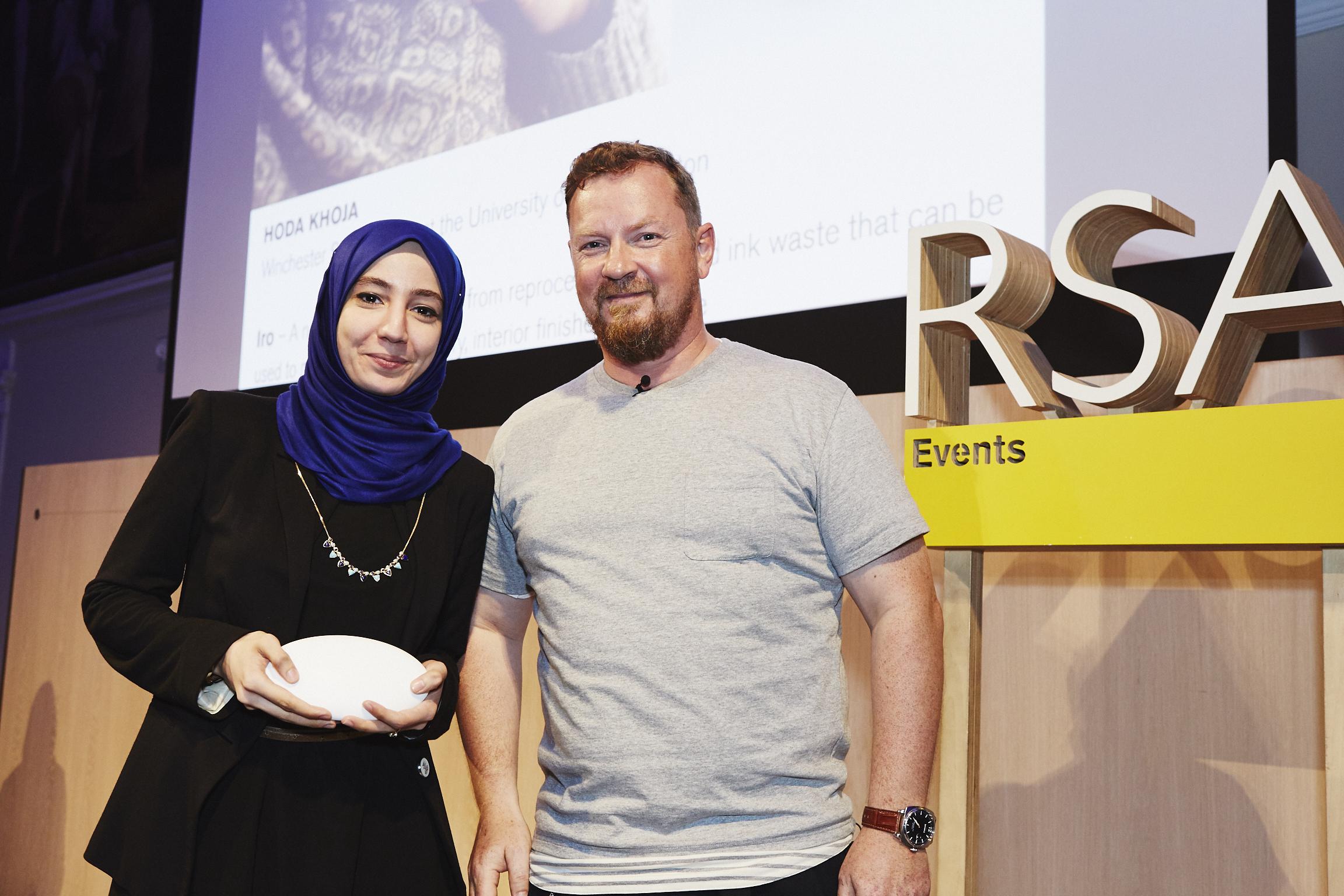 Huda Khoja with Richard Clarke of Nike, Former RSA Student Design Award Winner