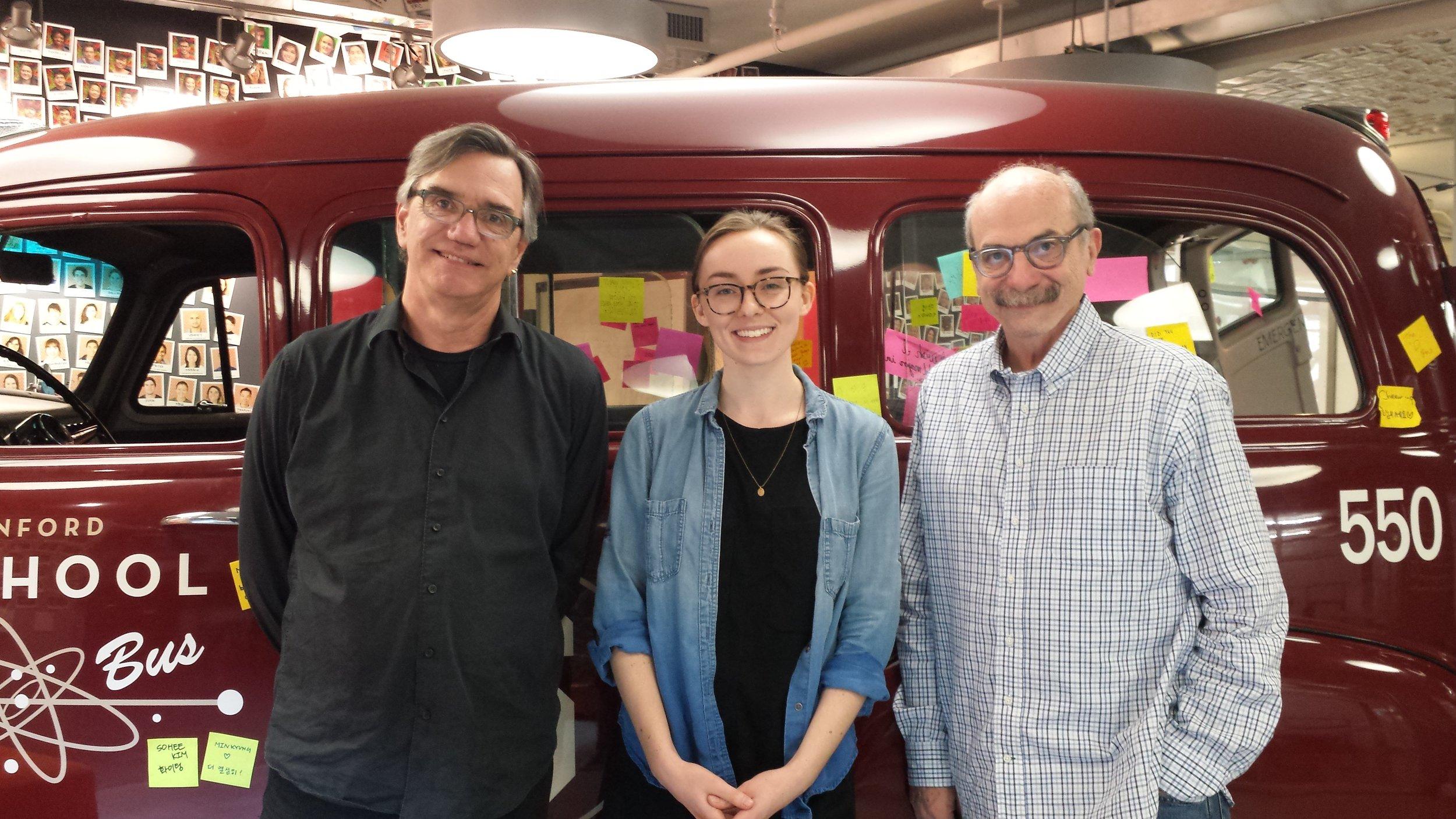 Teagan with mentors Bill Burnett and David Kelley