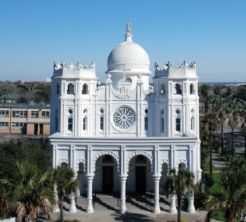 """Sacred Heart Catholic Church, described by Barthelme as """"a big Catholic church that looks more like a mosque""""."""