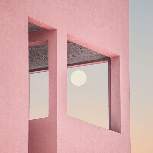 Your sacred space is where you can find yourself again and again. - Joseph Campbell  #moon #myth #josephcampbell #space #sacred #discovery #peach #pink #moonrise #human #structure #pink #gradient