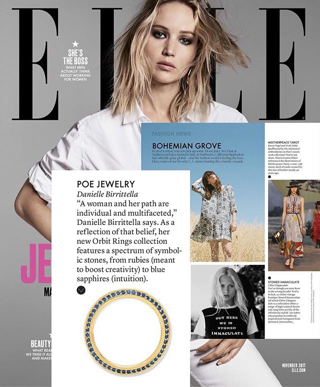 We're so happy to be included in the November issue of Elle's fashion news roundup of the Bohemian Grove with the Chimera Orbit Ring. Each stone holds energy and meaning.. 🌈  #color #ellemagazine #elle #bohemian #la #roundup #gold #sapphire #ruby #emerald #diamond #pave #rainbow #intuition #creativity #passion